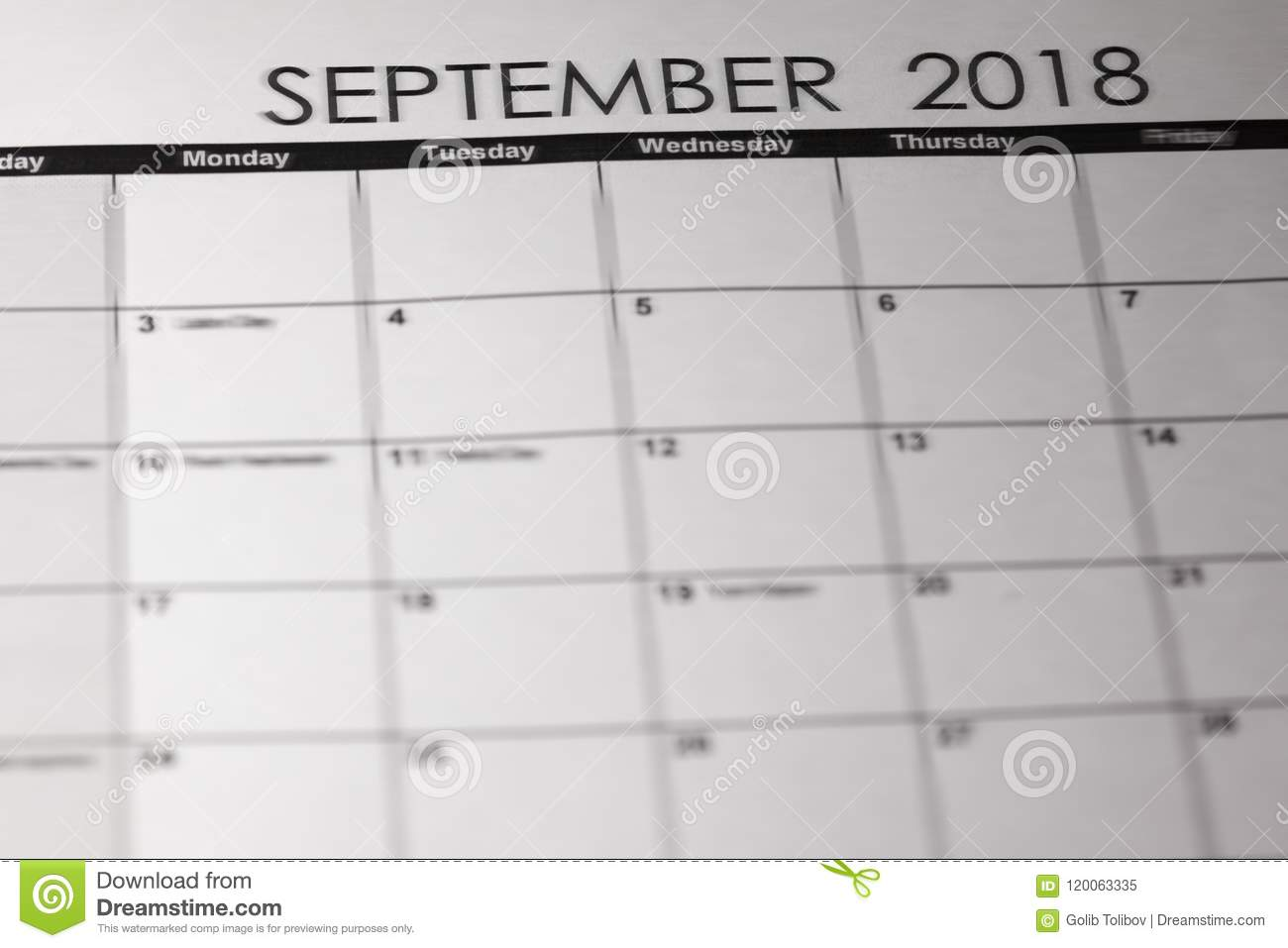 Simple September 2019 Calendar Week Starts From Sunday Stock Image
