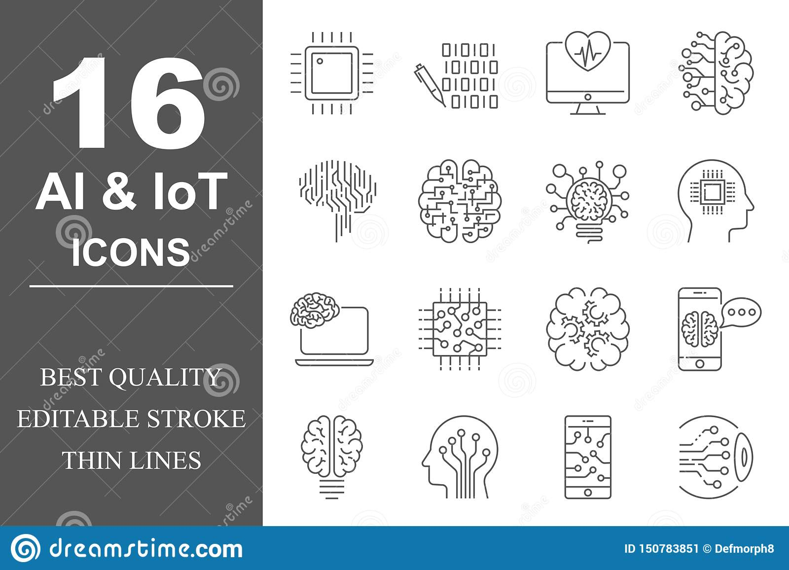 Simple set of Artificial Intelligence related vector line icons. Contains such icons as AI Processor, Cyborg, Self