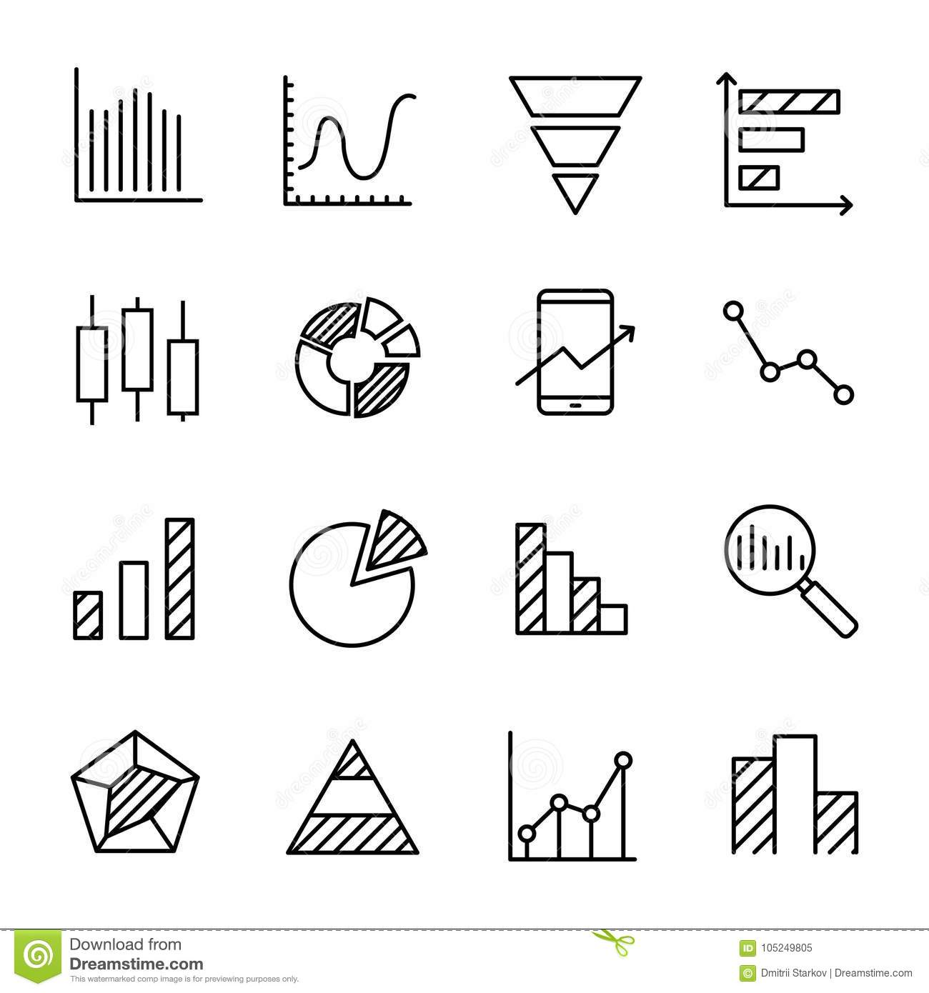 Web Diagram Simple Detailed Schematic Diagrams Block Set Of Related Outline Icons Stock Vector
