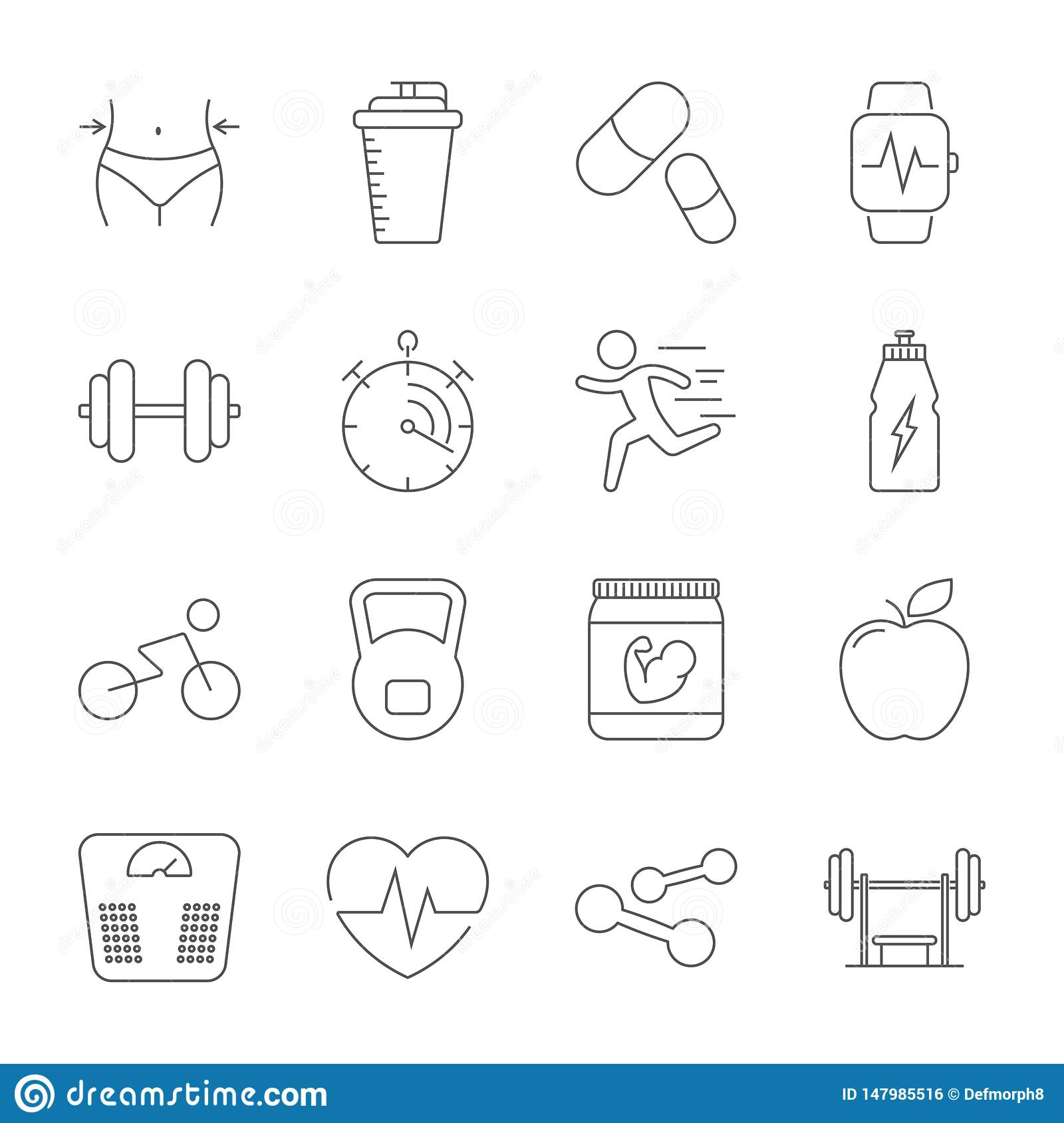 Simple set sport, fitness, gym equipment related vector line icons. Fitness training, bodybuilding, dumbbells, weight