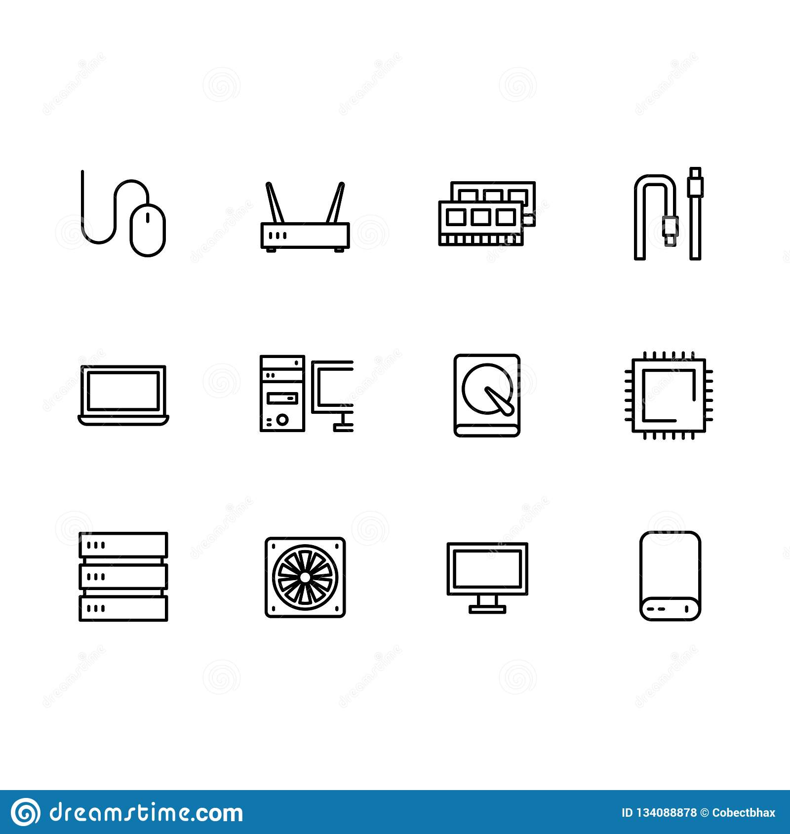 Simple set symbols computer hardware and components outline icon. Contains such icon RAM, hard disk, processor, server
