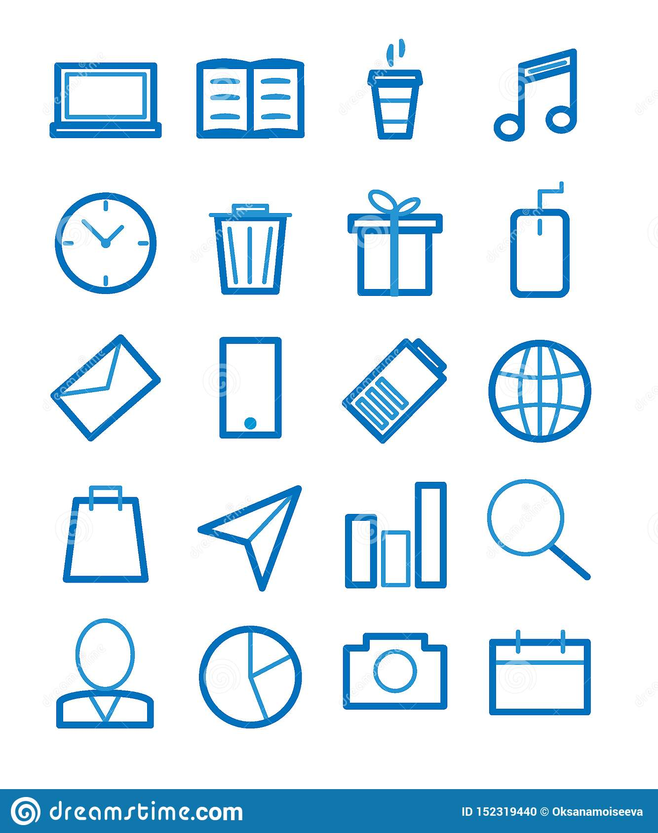 Simple Set of Related Vector Line Icons