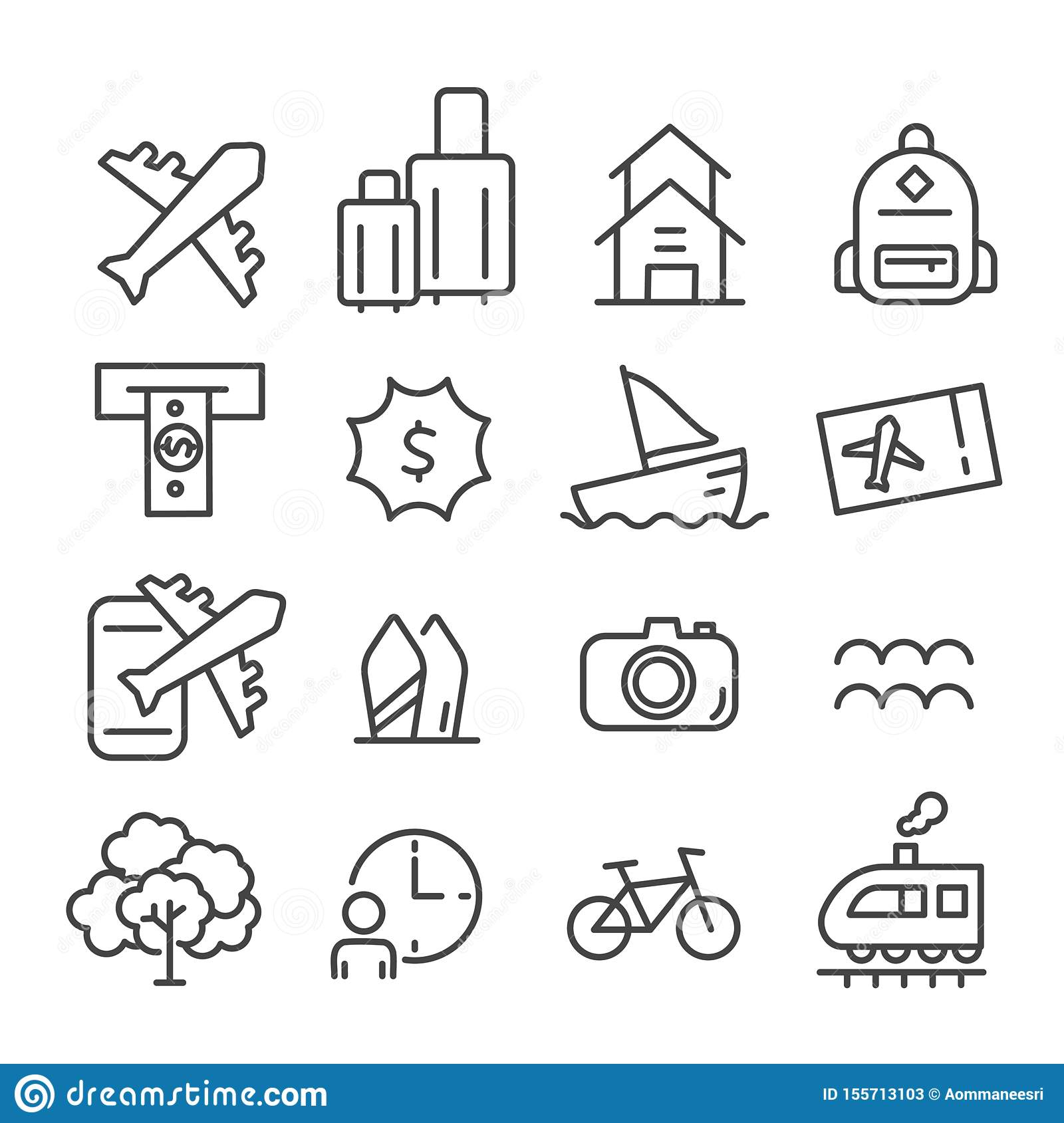 Simple set of time to travel icon isolated. Modern outline on white background