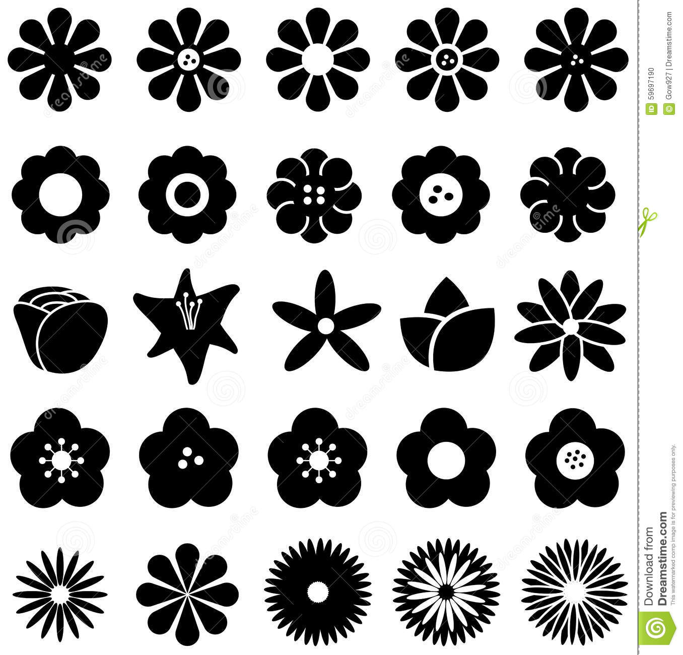 Simple Shape Geometric Flower Such As Rose Tulip Sunflower Daisy Stock Vector Image 59697190