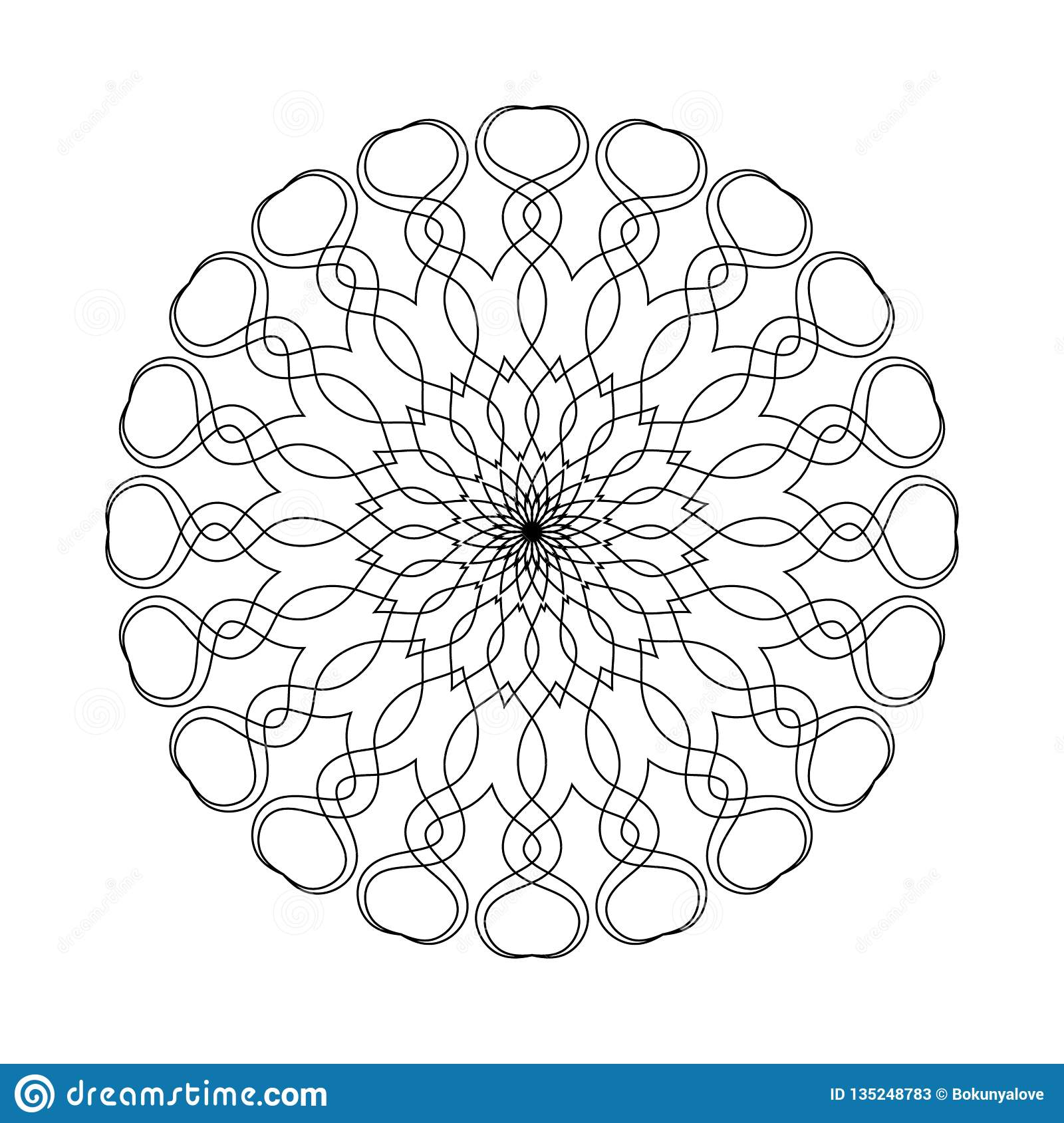 Simple Shape Mandala For Coloring On A White Background