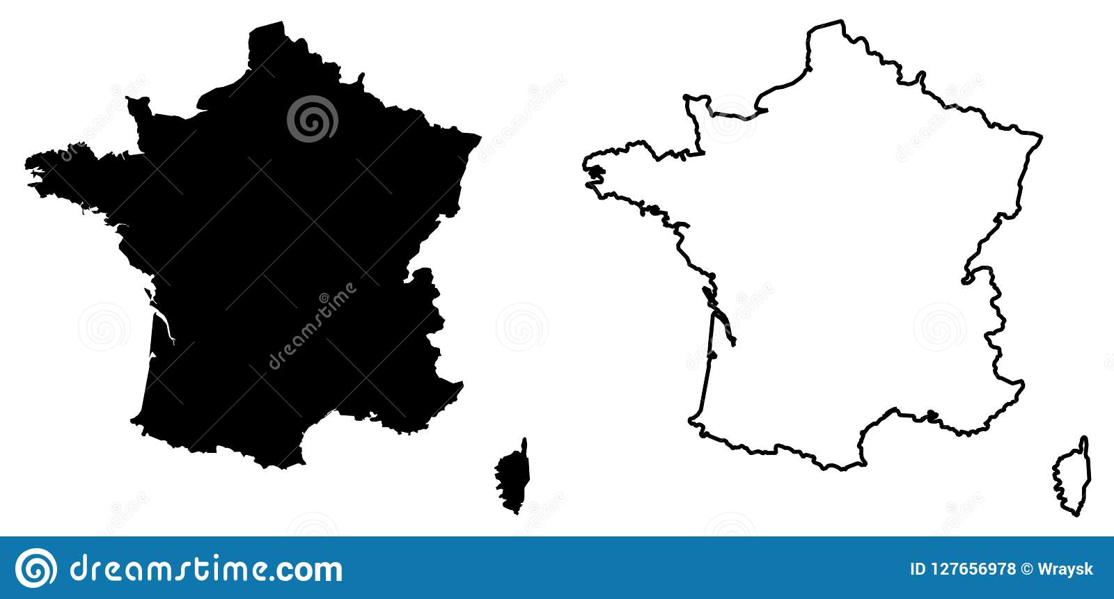 Map Of France Outline Only.Simple Only Sharp Corners Map Of France Vector Drawing Mercat Stock