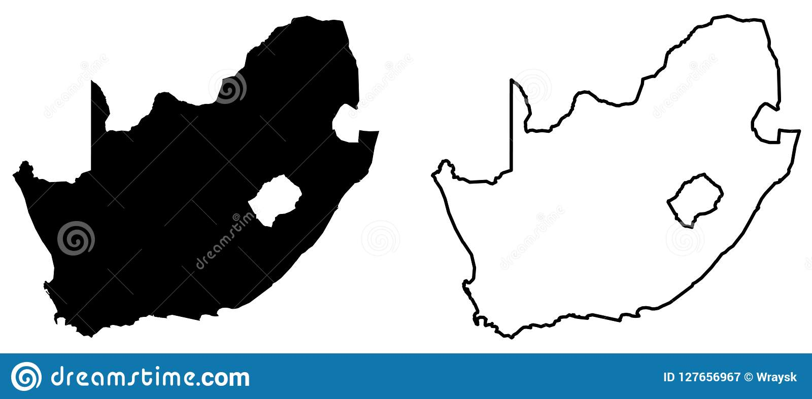 Simple Only Sharp Corners Map Of South Africa Vector Drawing Stock