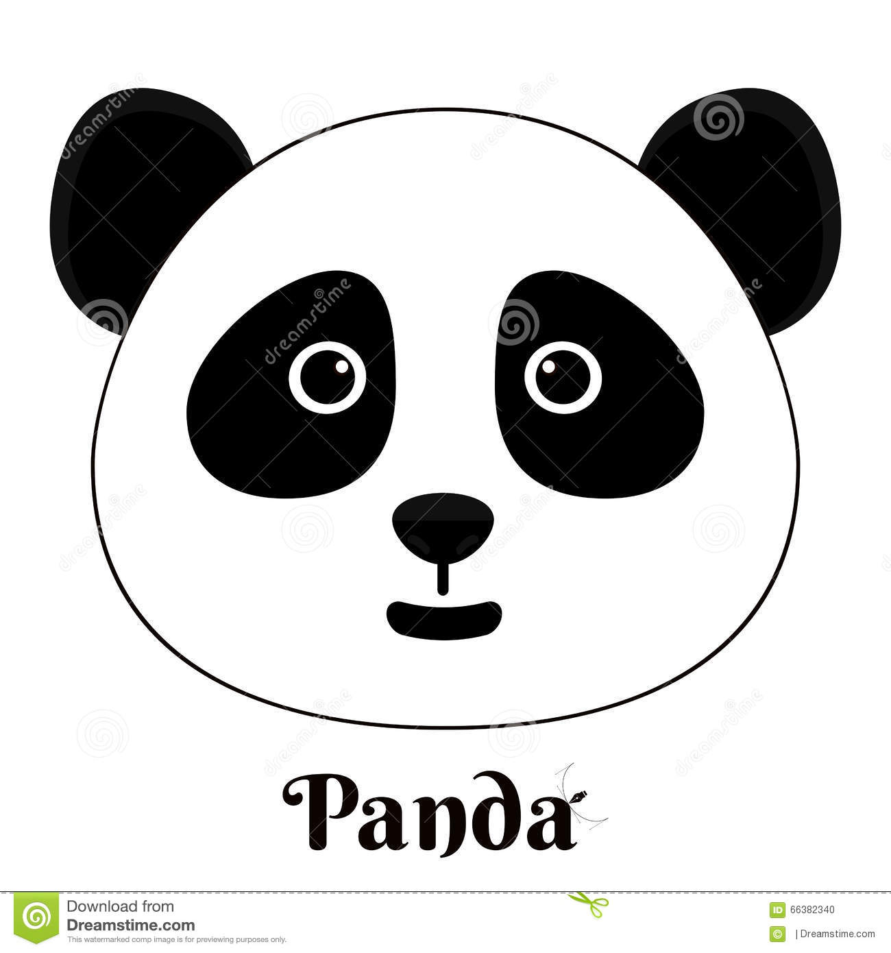 simple sign a panda design template on white background stock