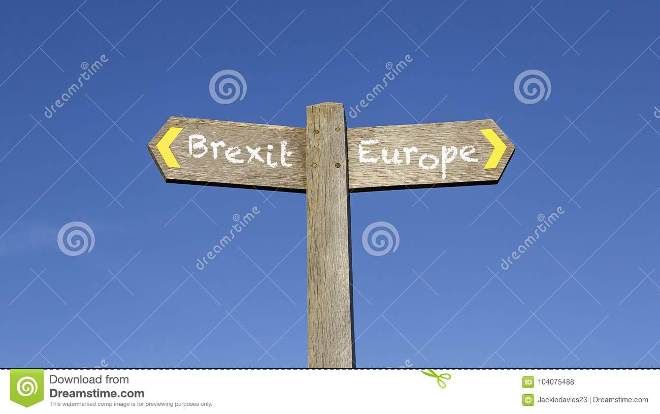Brexit or Europe - Conceptual signpost with a blue sky background