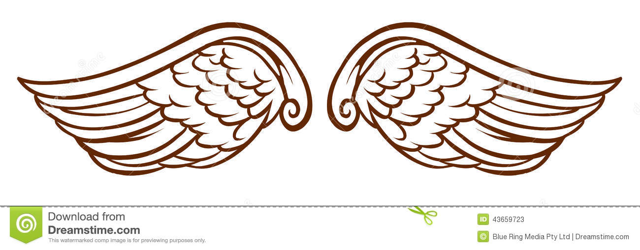 Illustration of a simple sketch of an angel s wings on a white