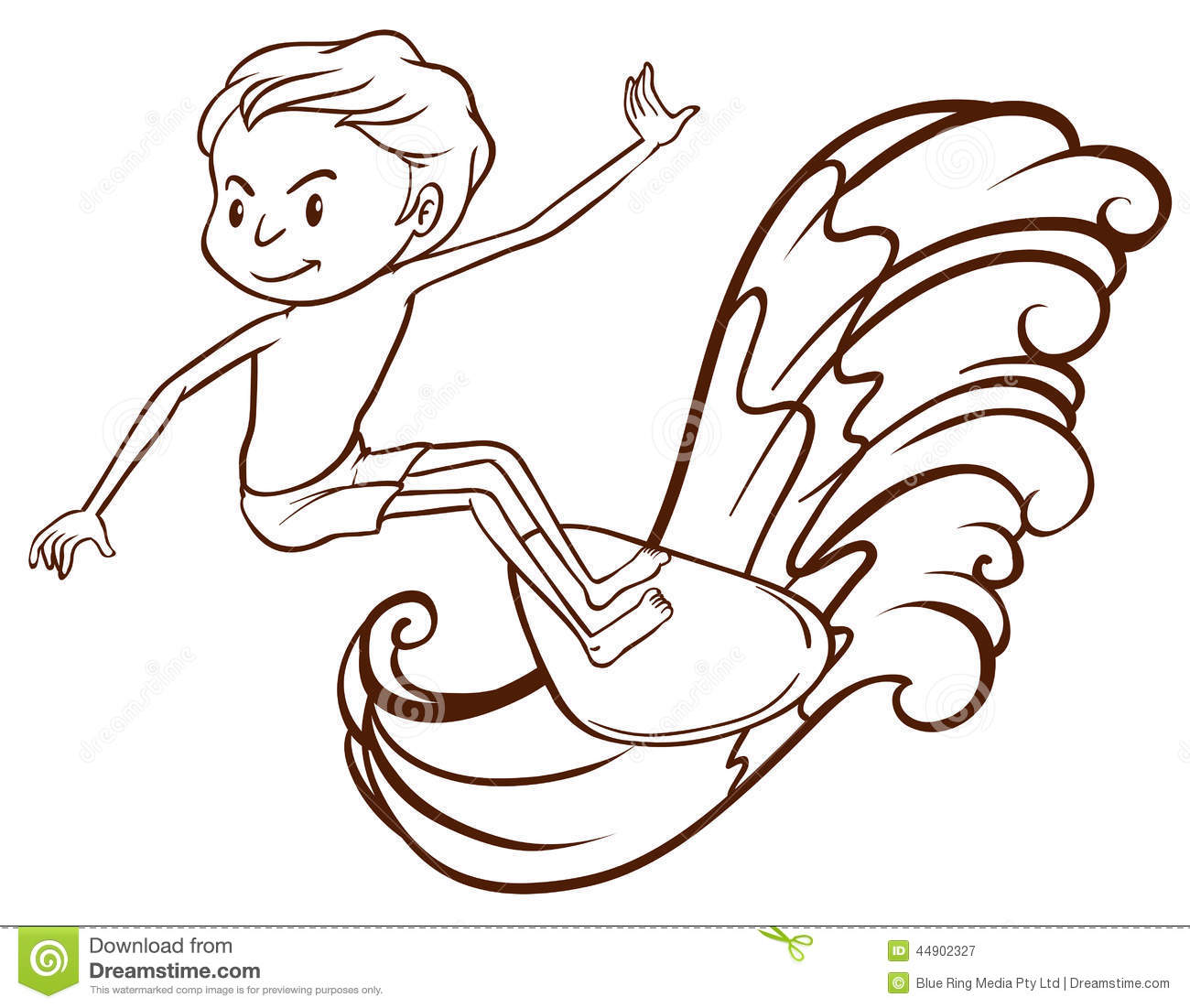 A Simple Sketch Of A Boy Doing Water Sport Stock Vector ...