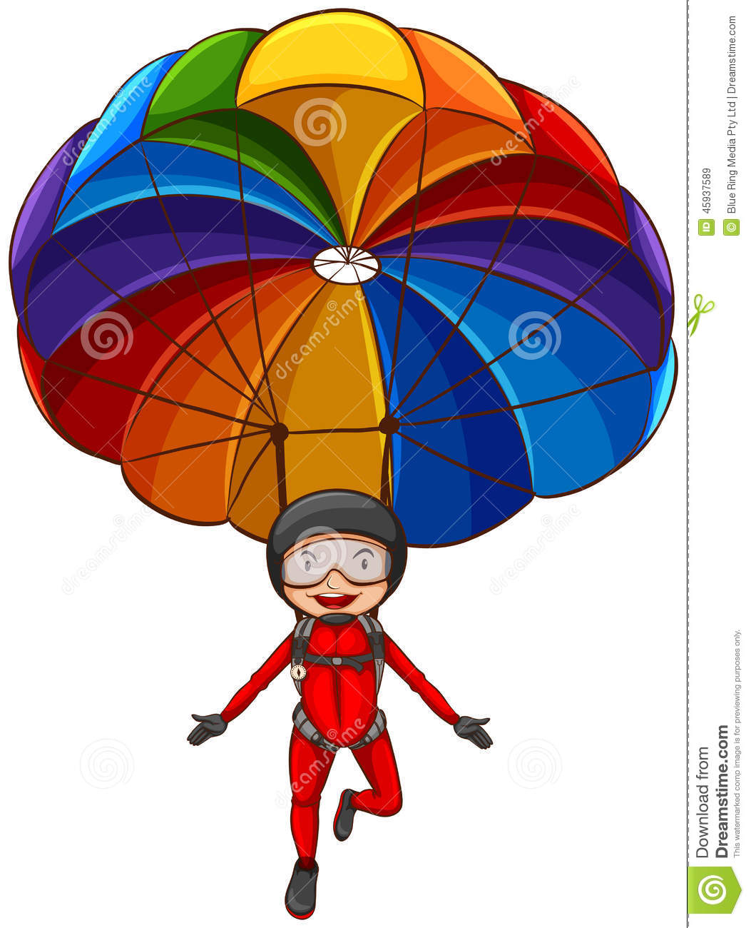Illustration of a simple sketch of a girl with a parachute on a white ...
