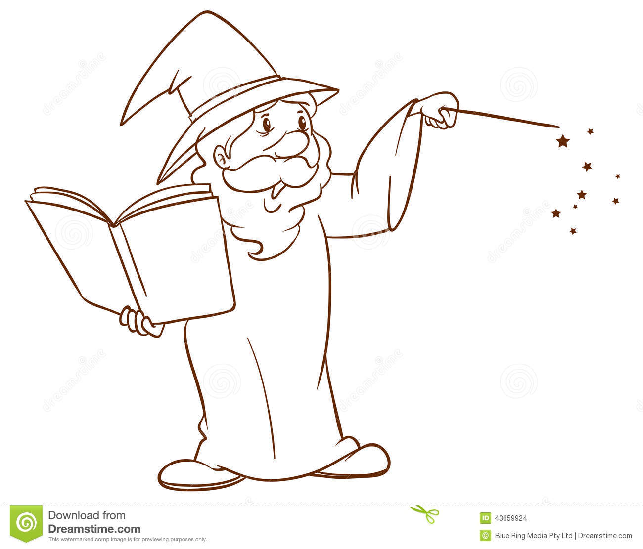 A simple sketch of a wizard stock vector image 43659924 for Illustration minimaliste