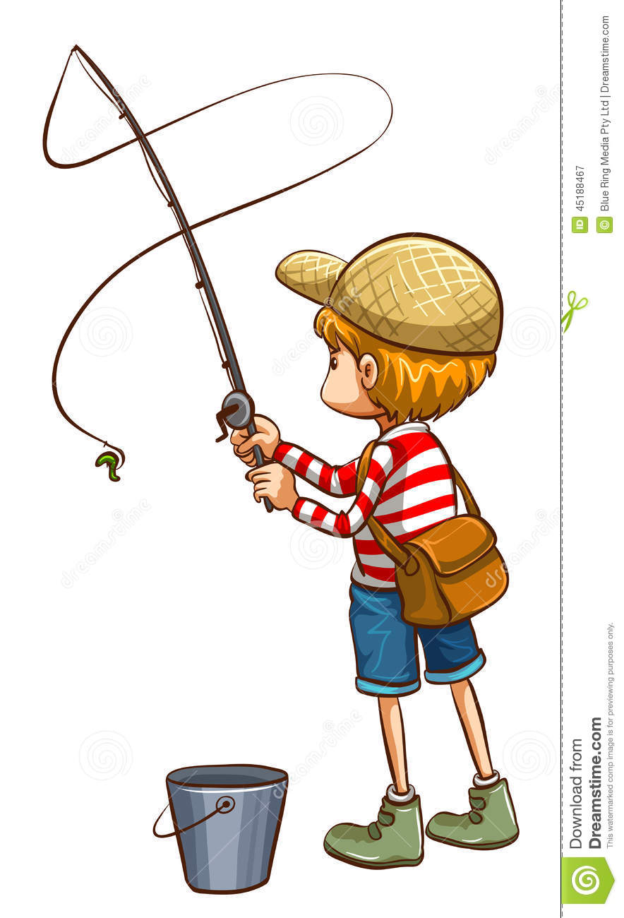 A simple sketch of a young boy fishing stock vector for Illustration minimaliste