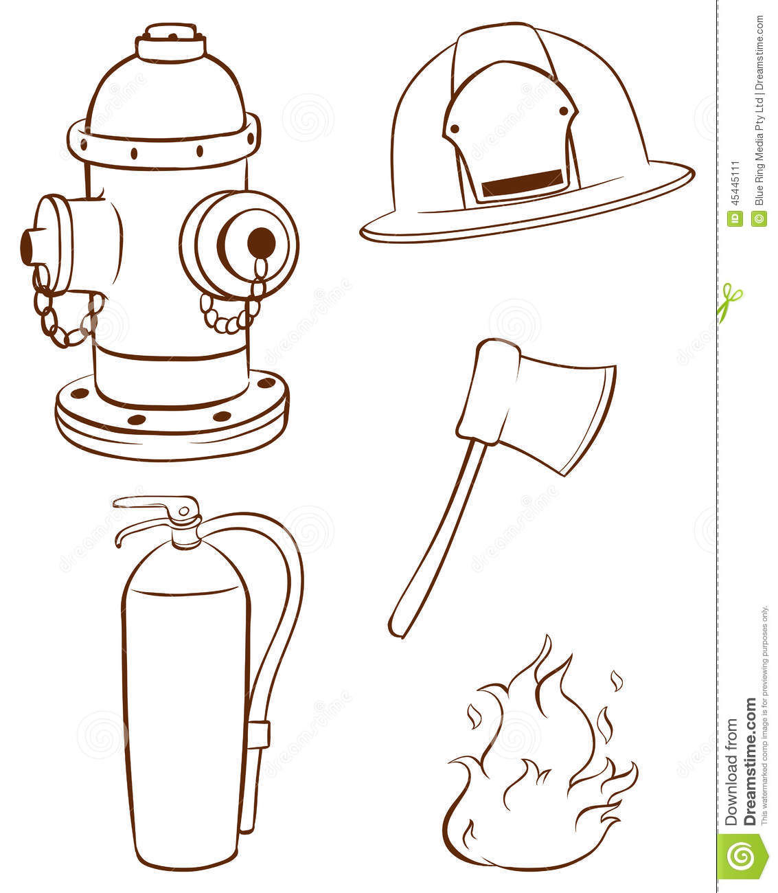 simple sketches of the things used by a fireman stock vector