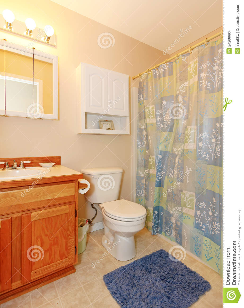Simple small bathroom with purple rug royalty free stock for Simple small bathroom