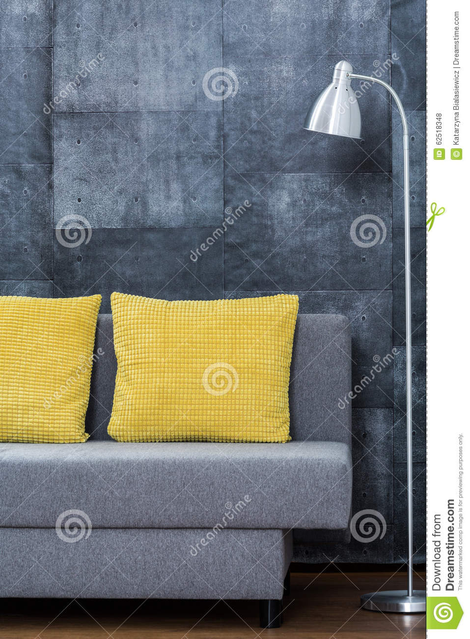 Yellow Decorative Pillows For Sofa : Simple Sofa With Yellow Pillows Stock Photo - Image: 62518348