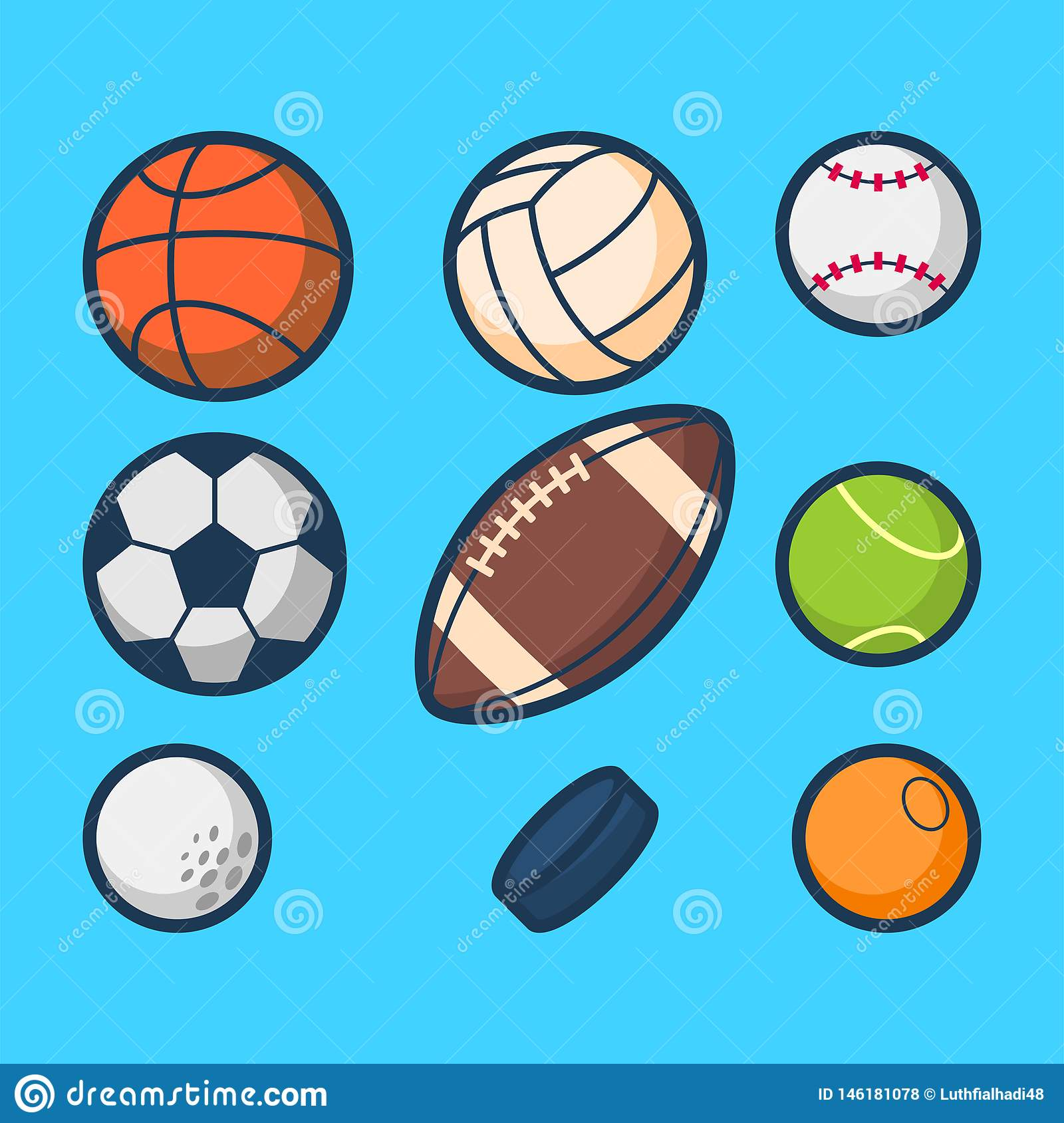 Simple Sport Ball Cartoon Vector Stock Vector Illustration Of Colors Editable 146181078