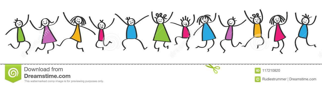 Simple stick figures banner, happy colorful kids jumping, hands in the air