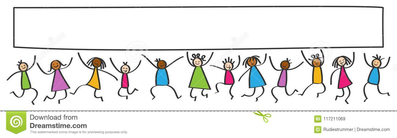 simple stick figures banner happy multicultural kids jumping blank