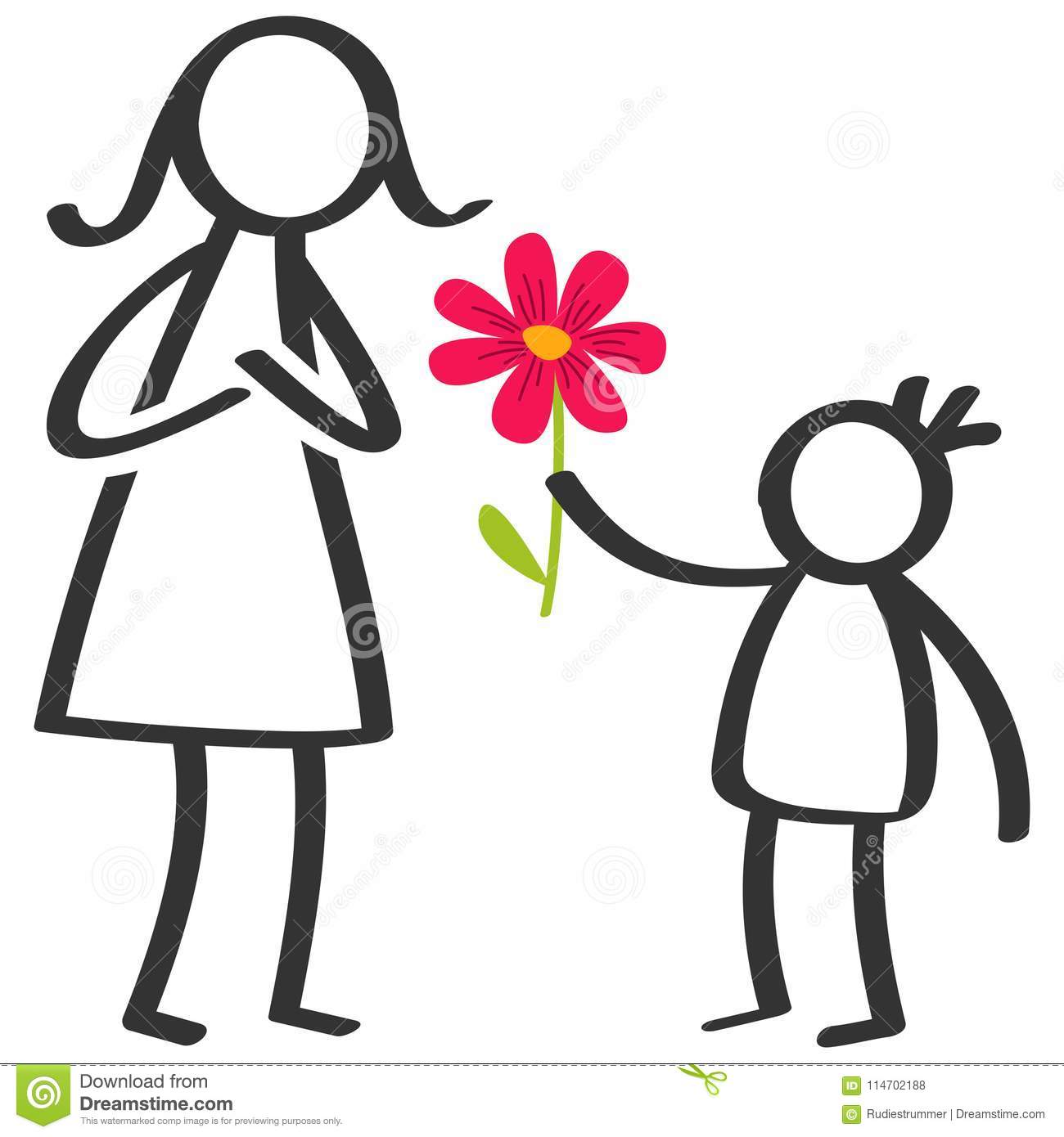 Simple stick figures family, boy giving flower to mother on Mother`s Day, birthday isolated on white background