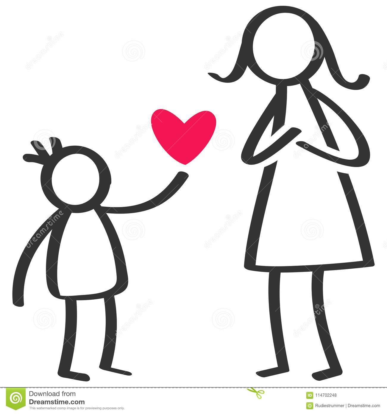 Simple stick figures family, boy giving love, heart to mother on Mother`s Day, birthday
