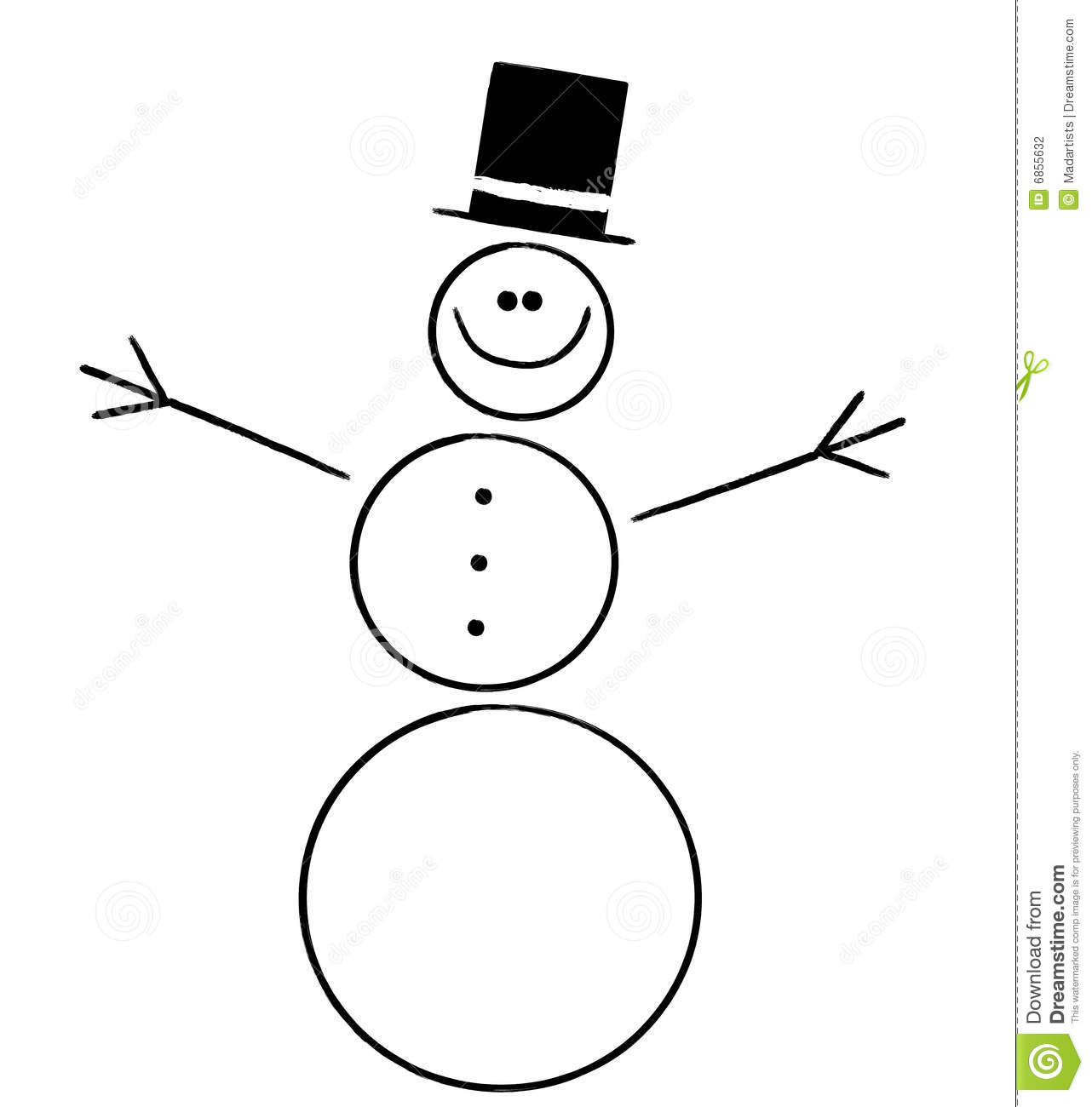 ... featuring a very simplistic snowman with hat in black and white