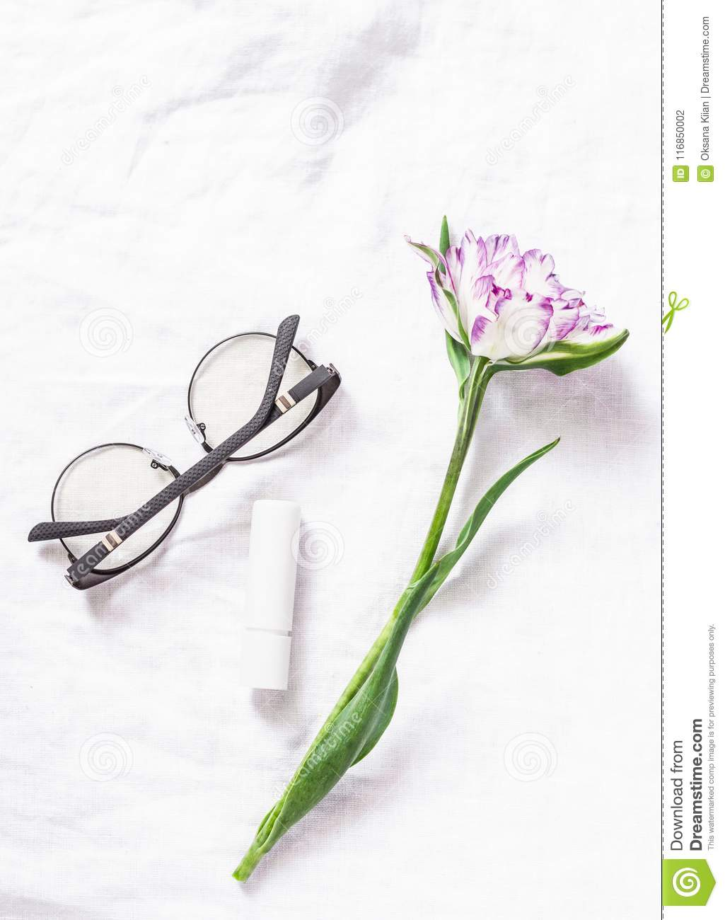 Simple Still Life On A White Background Tulip Flower Womens Glasses Download Preview