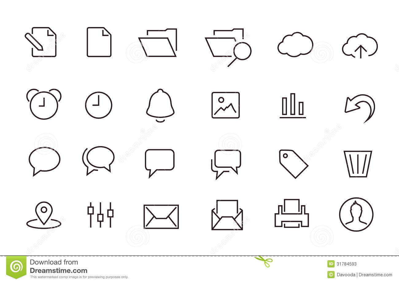 Simple Stroked Document Icon Set Stock Photos Image