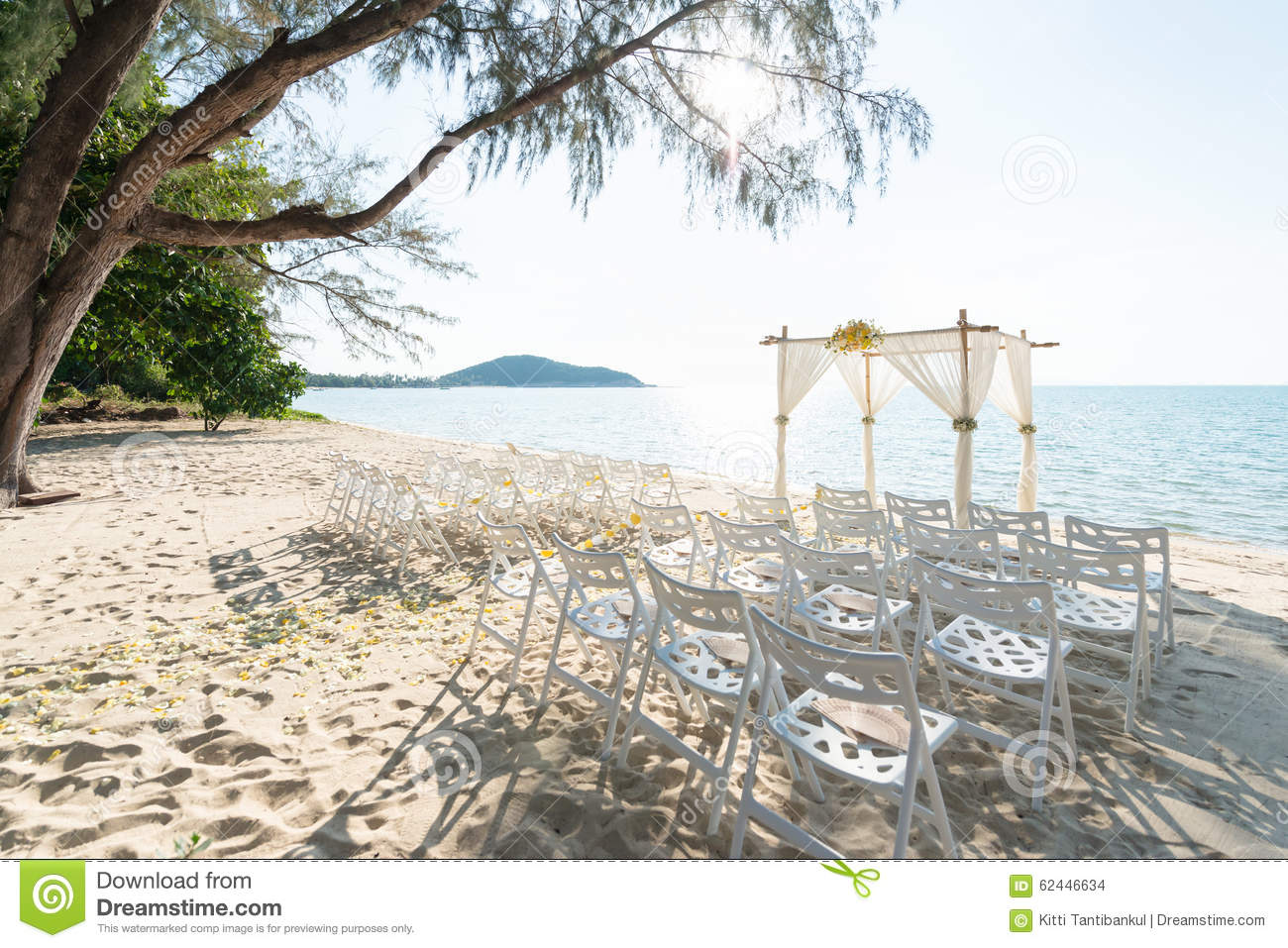 Simple style wedding arch and decoration venue setup on tropic download simple style wedding arch and decoration venue setup on tropic stock photo junglespirit Image collections