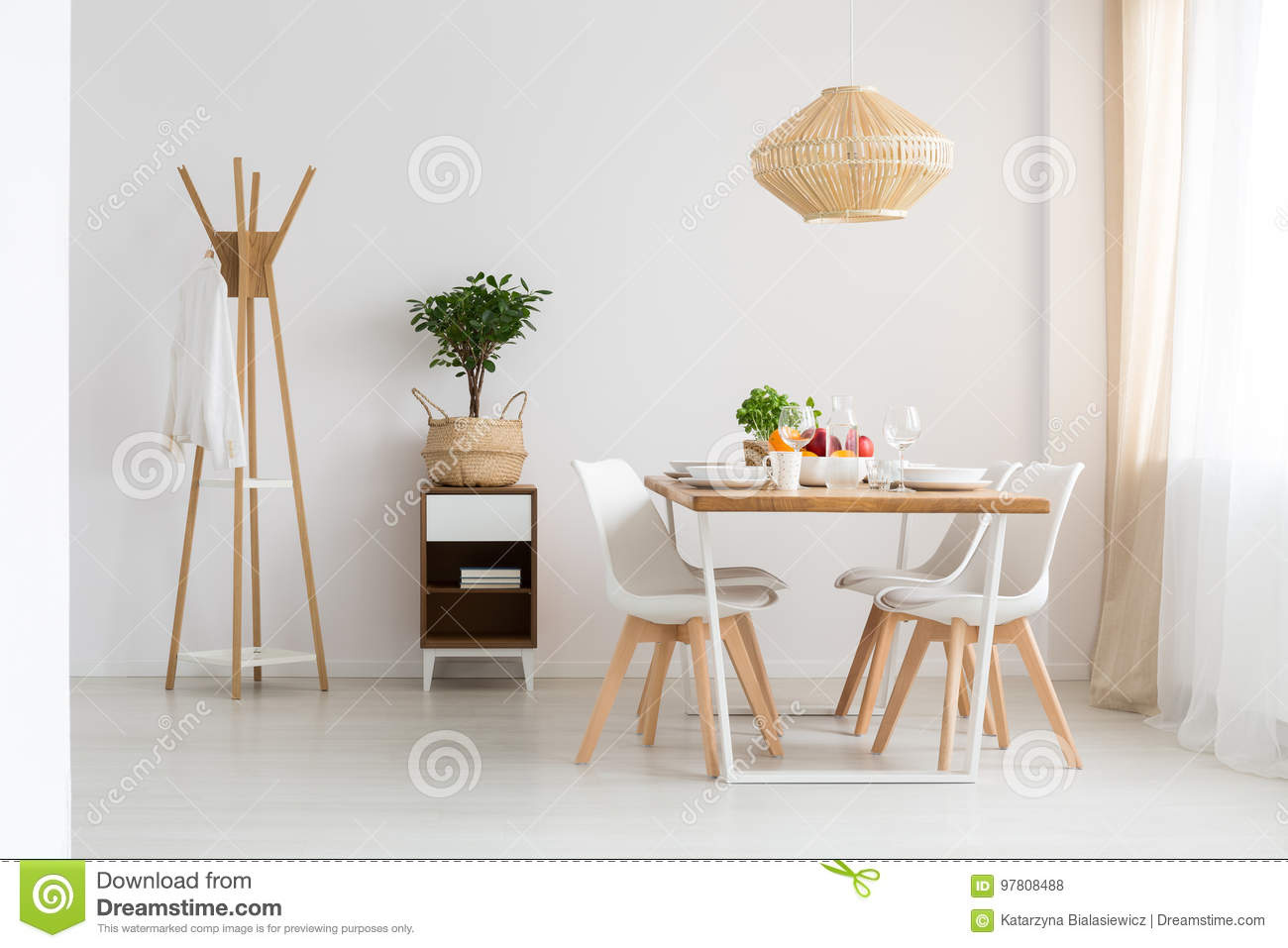 Dining room in apartment stock photo. Image of chairs - 97808488
