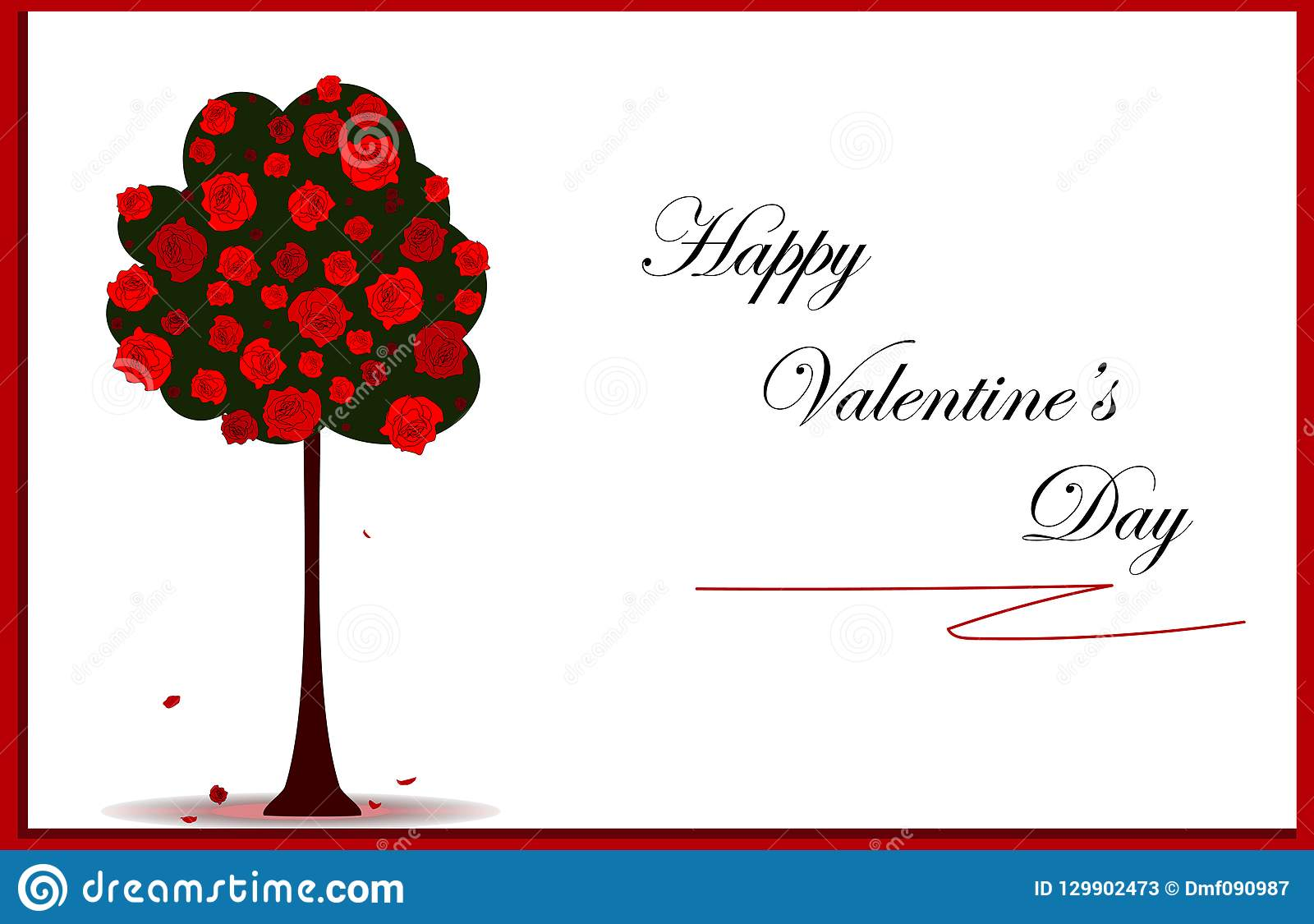 Valentines day card with red roses tree and frame, vector eps 10