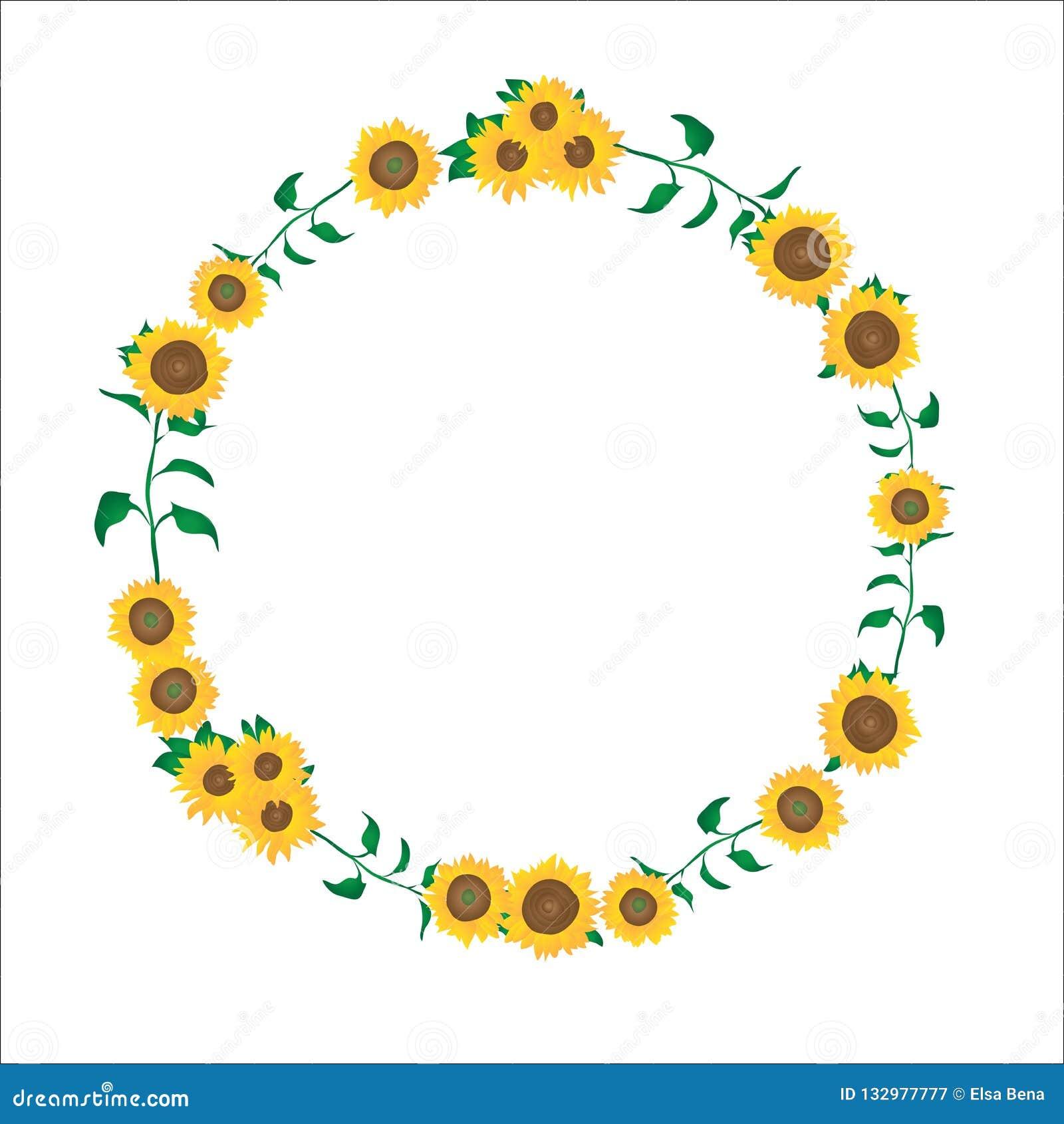 Circle Template | Simple Sunflowers Flower Circle Border Template Stock Illustration