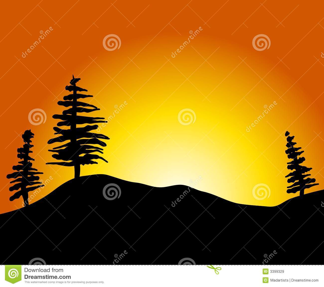 simple sunset with trees hill stock illustration