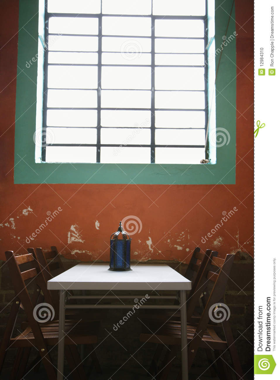 Simple Table Under Window Stock Photo Image 12984310