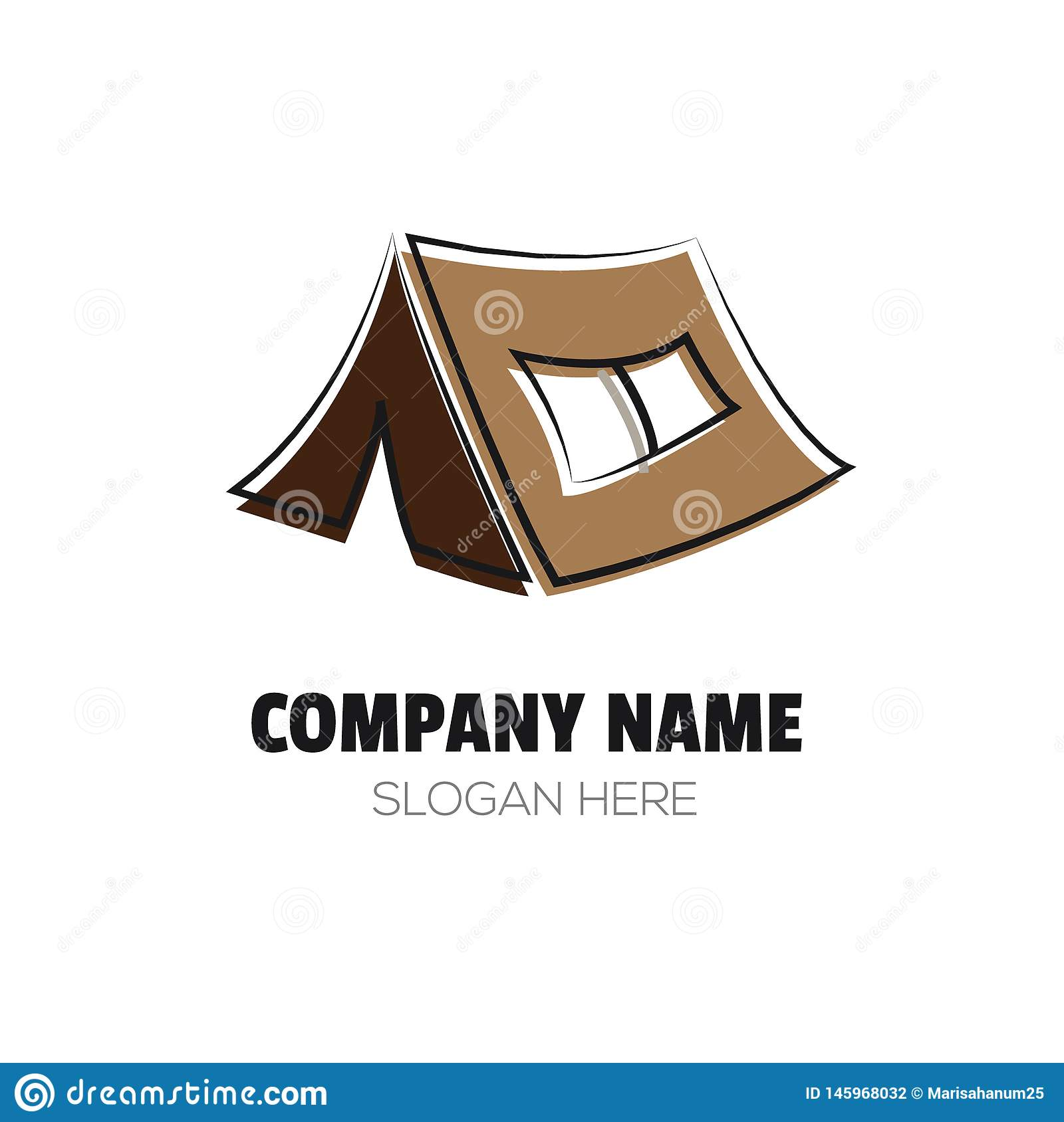 Clear and Simple Camping Tent Logo