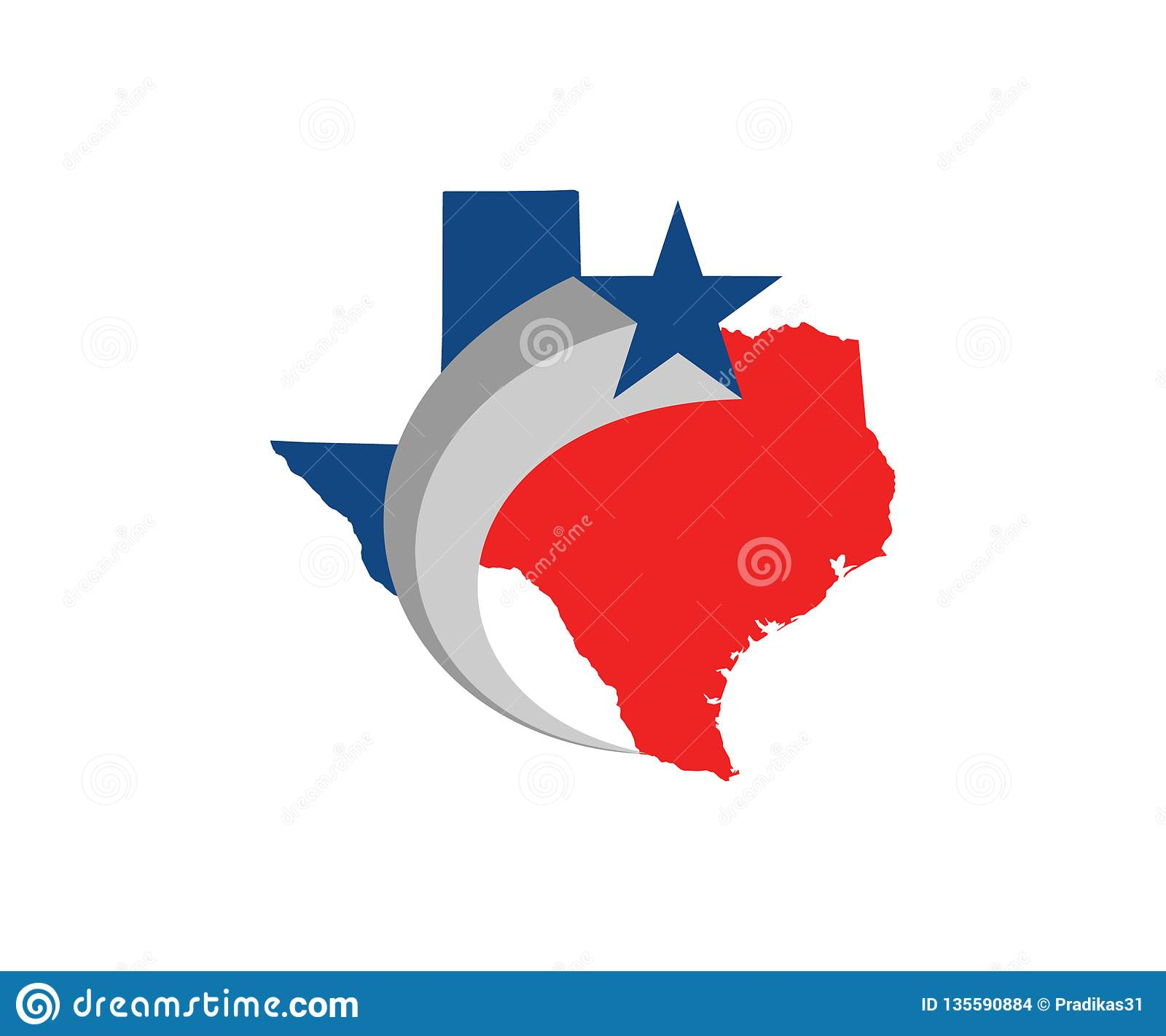 A Simple Texas State Logo In Red And Blue Stock Illustration