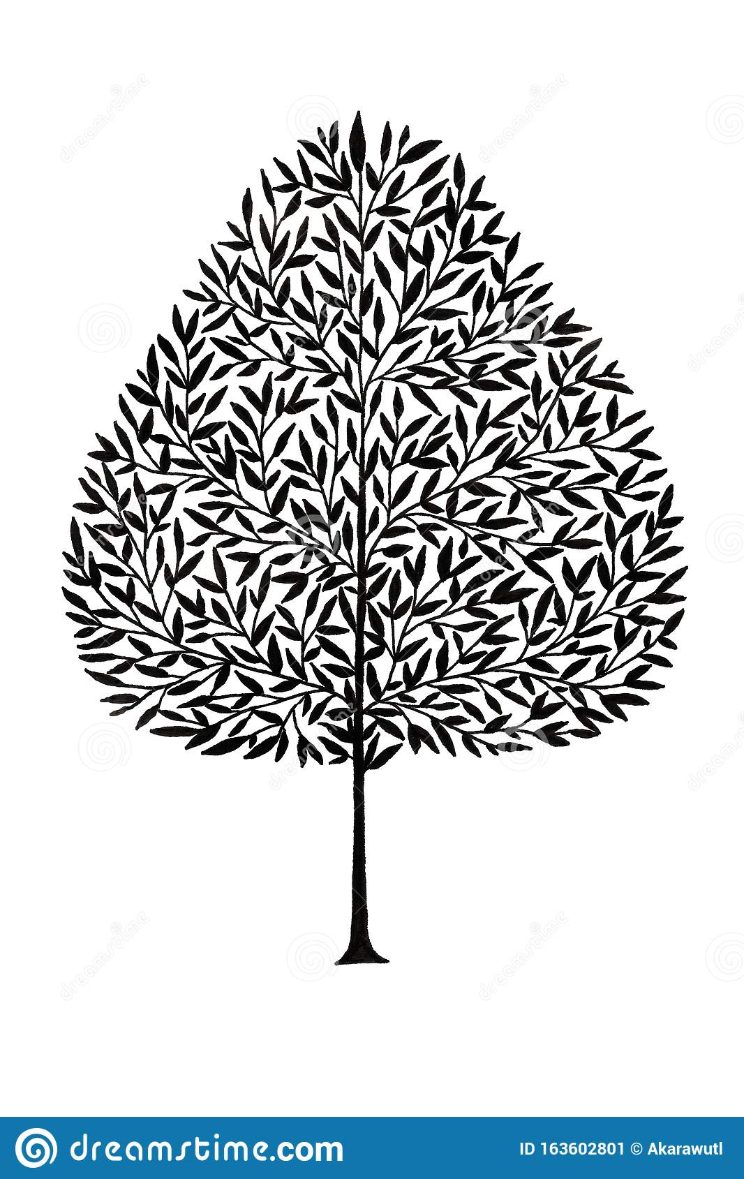 Simple Tree Drawing Using Ink Pen In Silhouette Style For Icon And Graphic Design Element Purpose Stock Illustration Illustration Of Nature Botanical 163602801