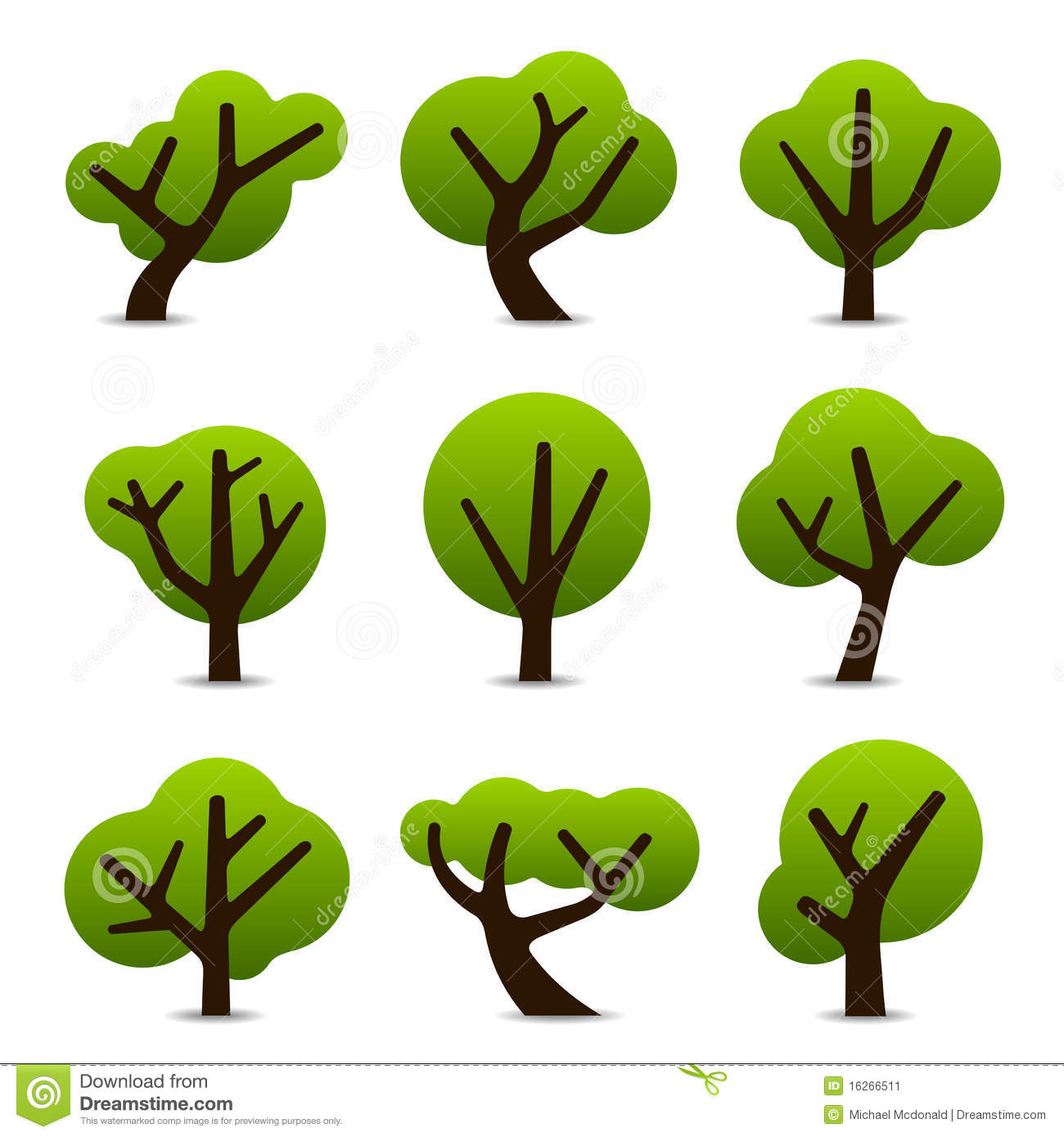 Set of 9 tree icons in simple shapes and designs.