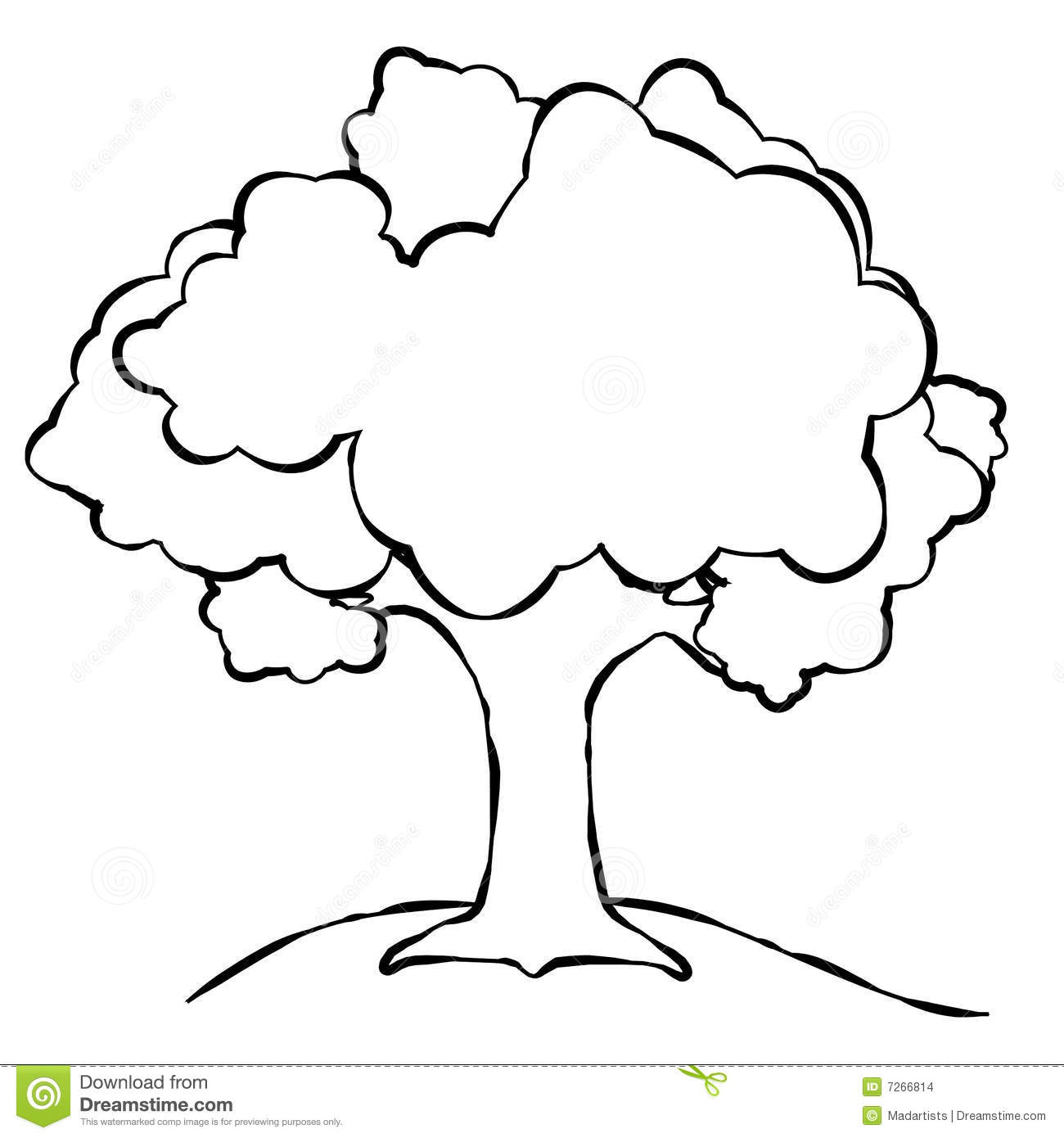 simple tree illustration line art black and white