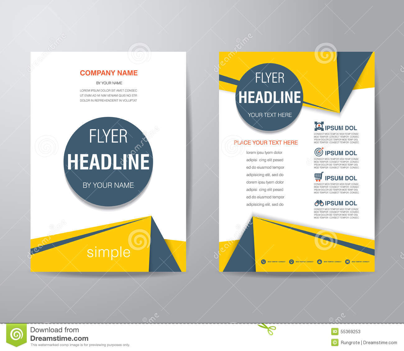 templates brochure design - simple triangle and circle brochure flyer design layout