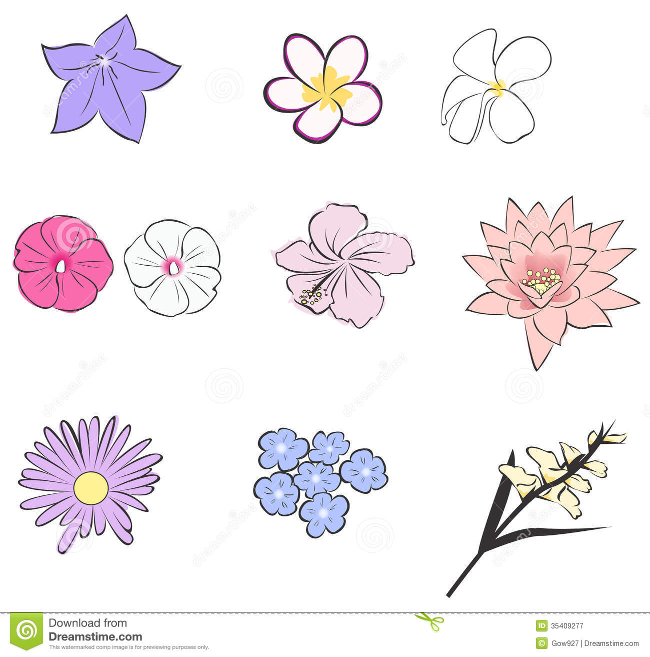 Simple Tropical Flower Icon Collection Set vector Royalty Free Stock Photography Image 35409277