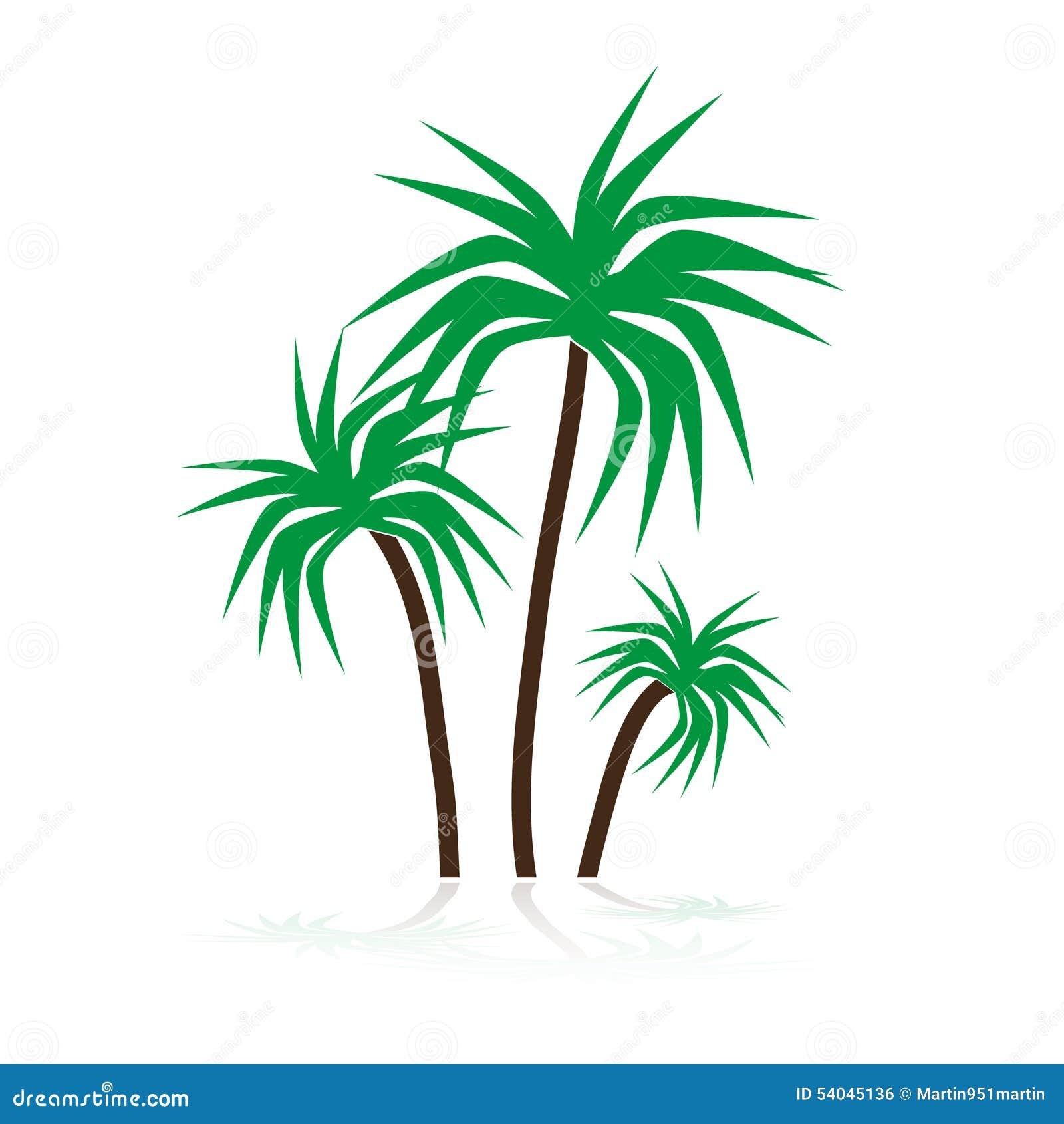 Simple Tropical Green Palm Trees Symbols Eps10 Illustration 54045136