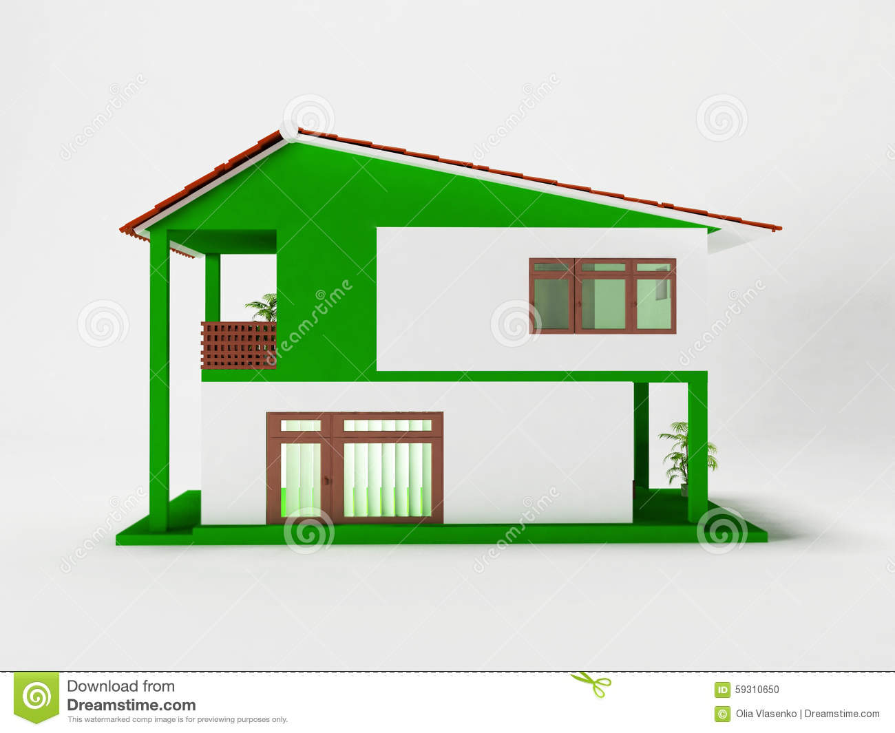 A simple two story house stock illustration image 59310650 for Simple two story house