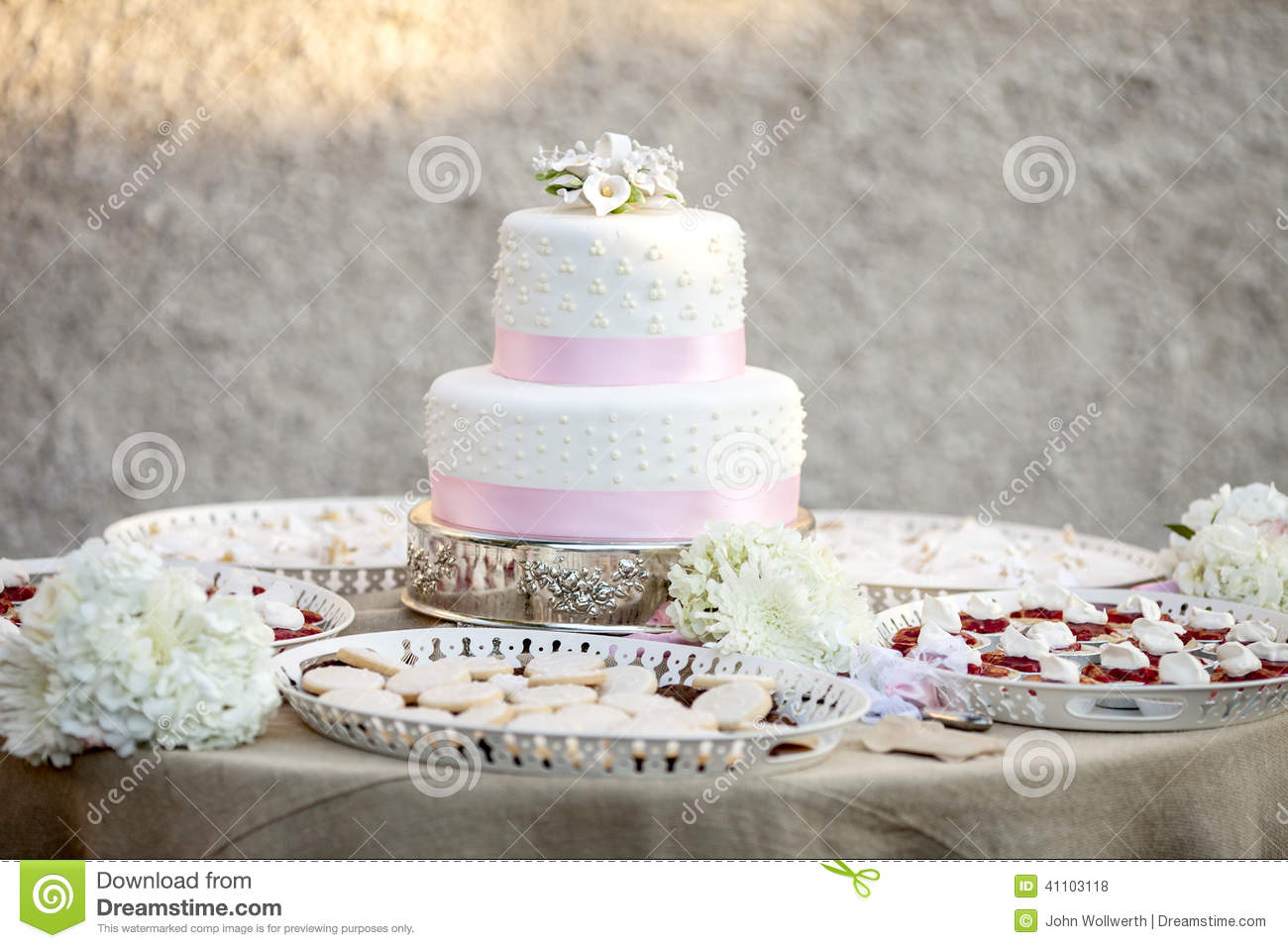 Simple Two Tier Wedding Cake Stock Photo Image Of Food Decorate