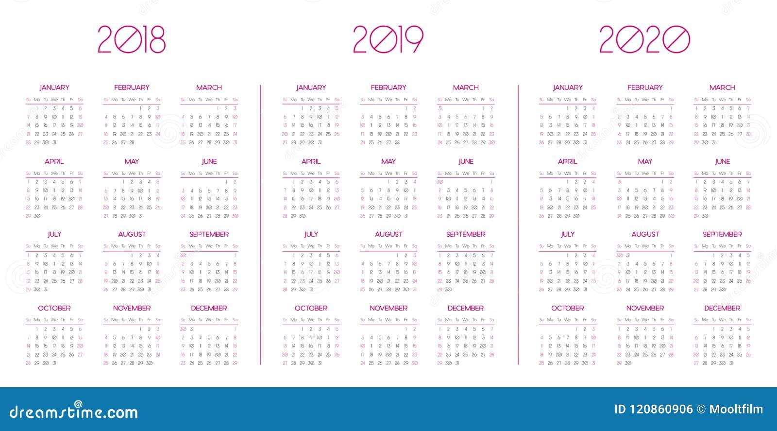 Calendar Template For 2018, 2019, 2020 Stock Vector