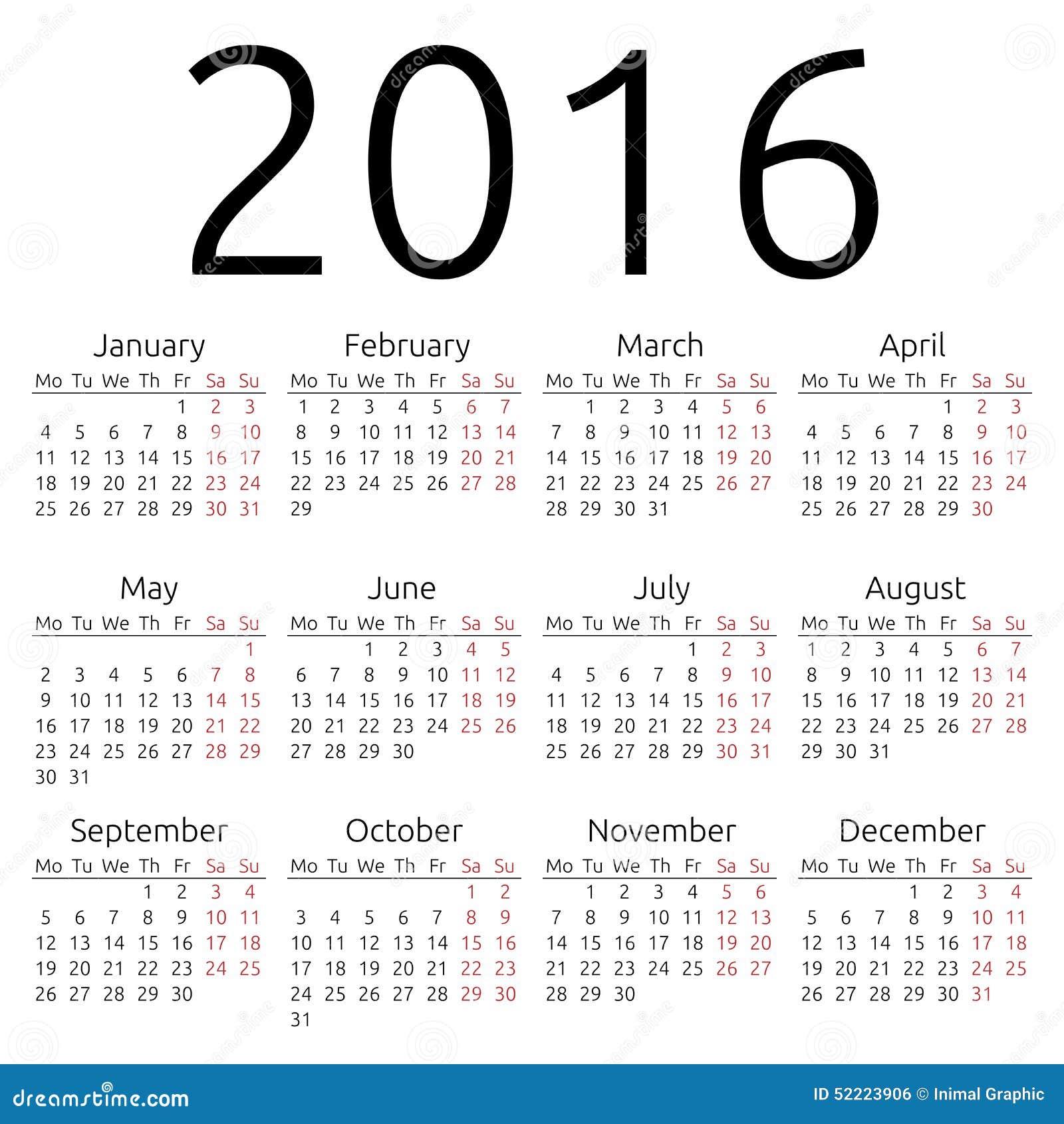 Year Calendar Vector : Simple vector calendar stock image