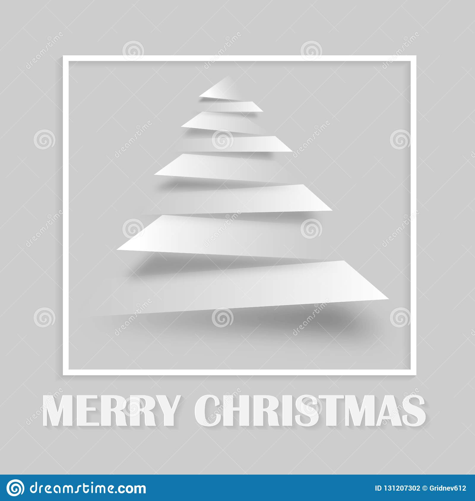 Simple vector christmas tree made from paper stripe - original new year