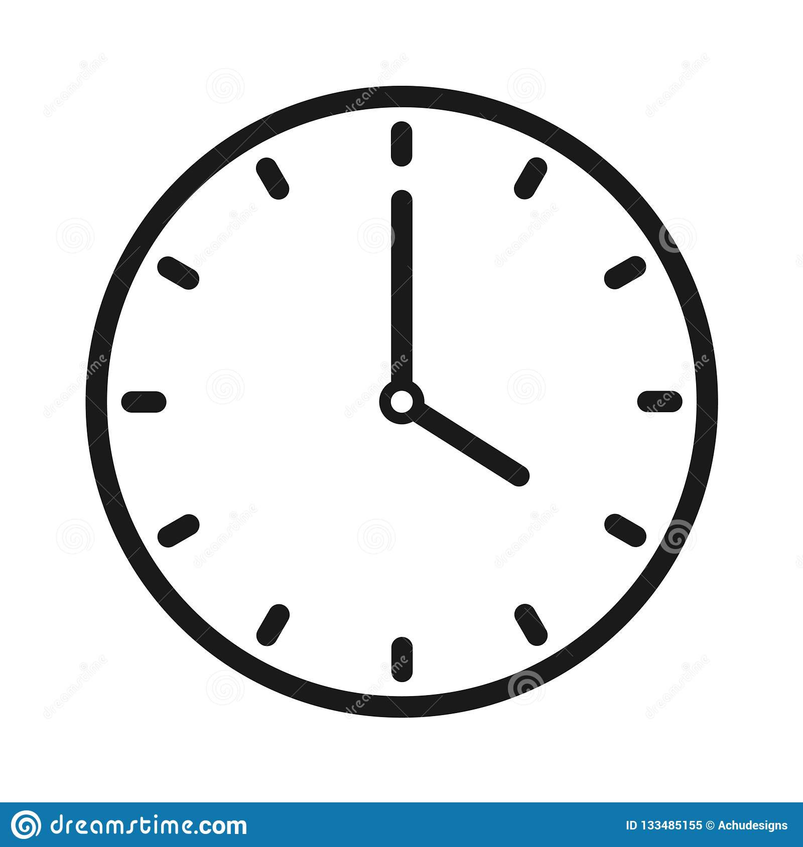 Clock icon stock vector  Illustration of flat, close - 133485155