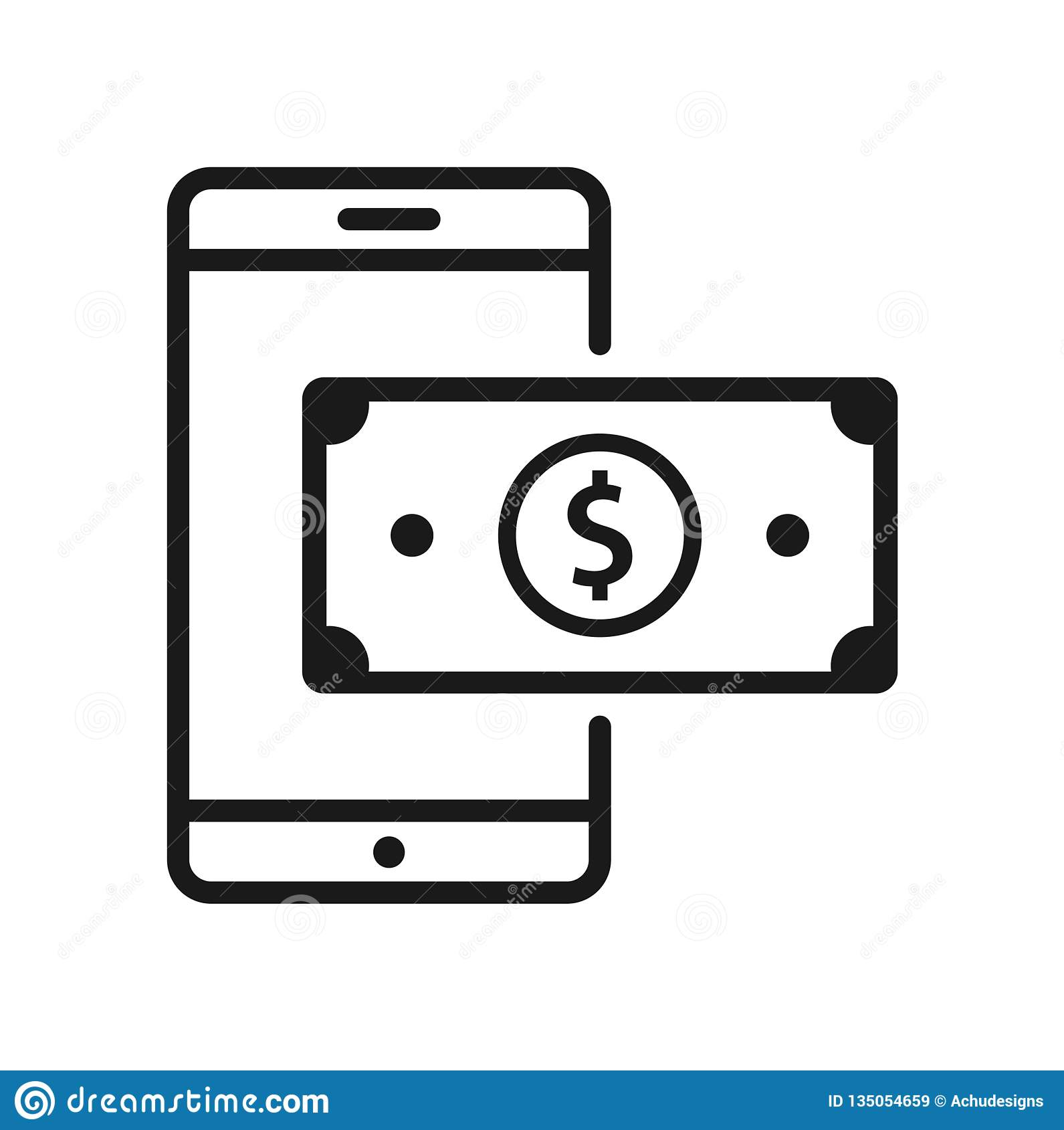Mobile Phone Dollar Currency Bill Icon Stock Vector